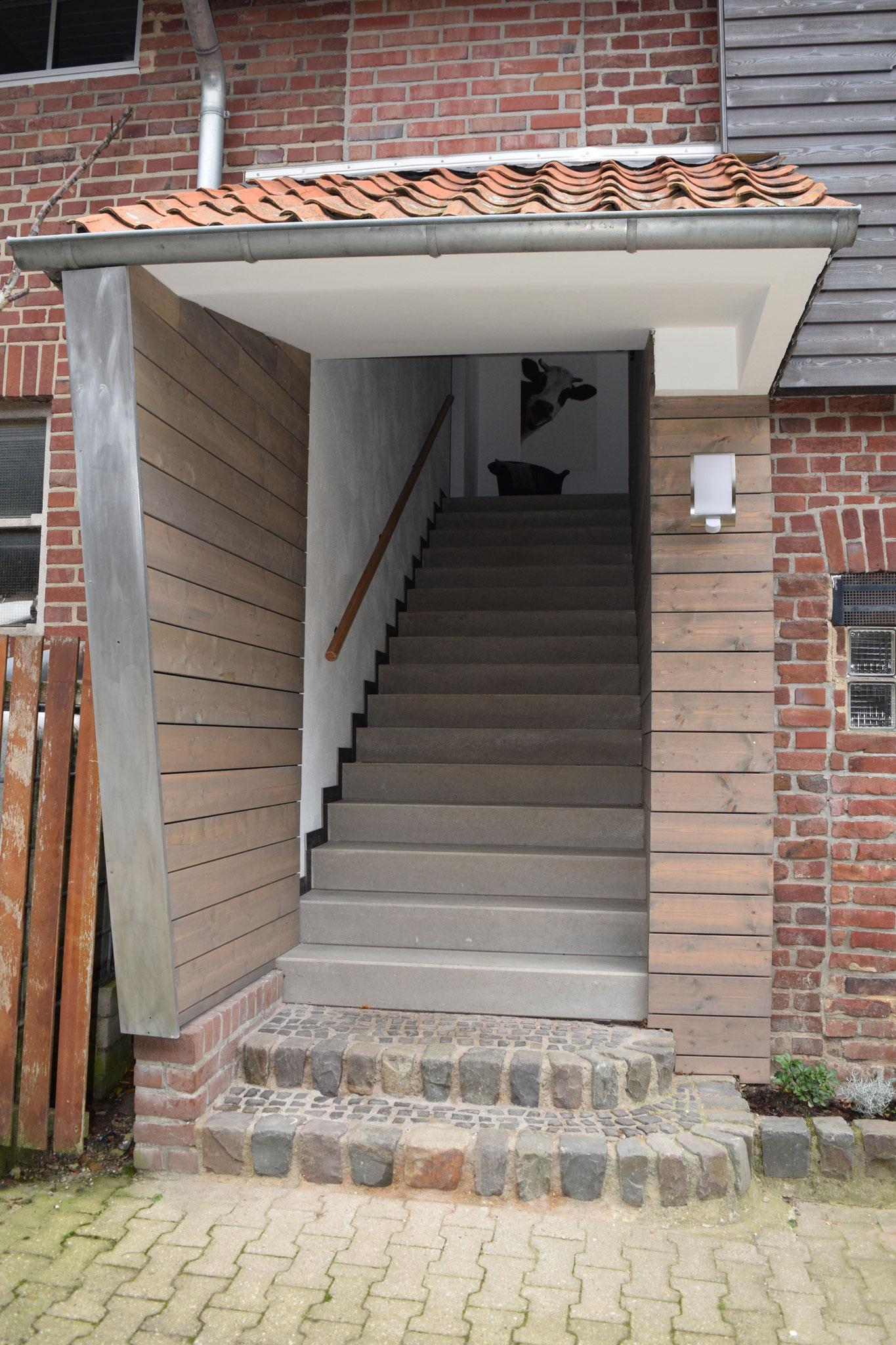 Treppenhaus der Ferienwohnungen