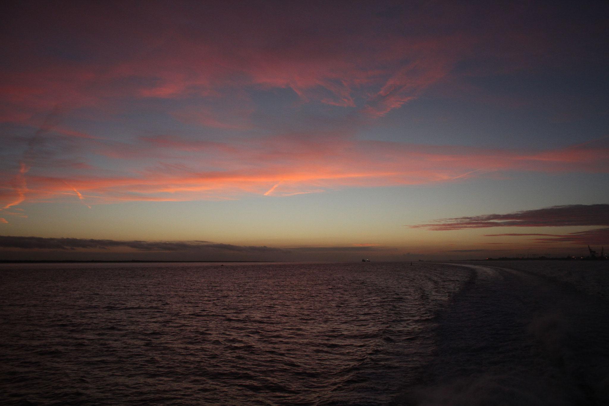 ... erleben wir eine herrliche Abendstimmung auf der Elbe.