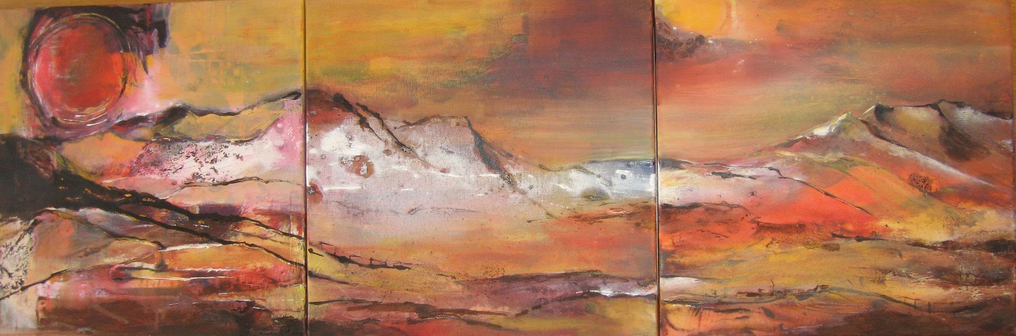 Kraft der Berge, Mischtechnik, 40 x 120 cm, 3-teilig