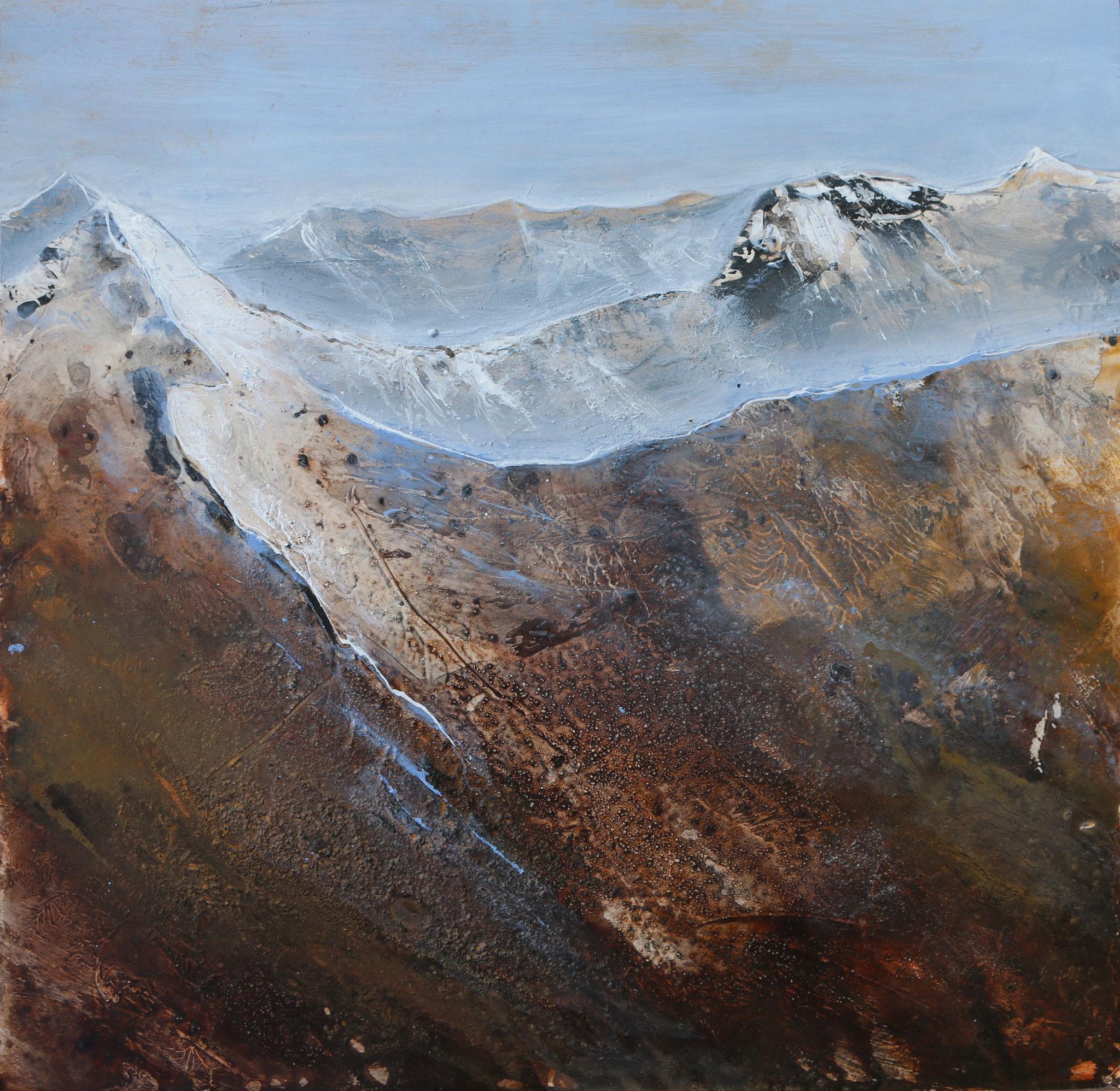 Fisser Bergwelten IV, Mischtechnik, 40 x 40 cm