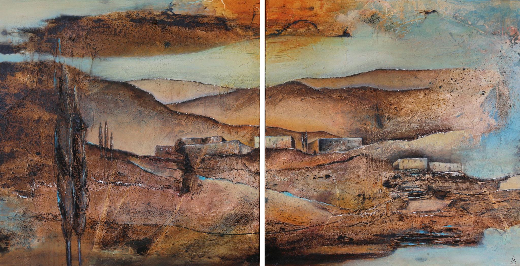 Traumland I, Mischtechnik, 80 x 160 cm, 2-teilig
