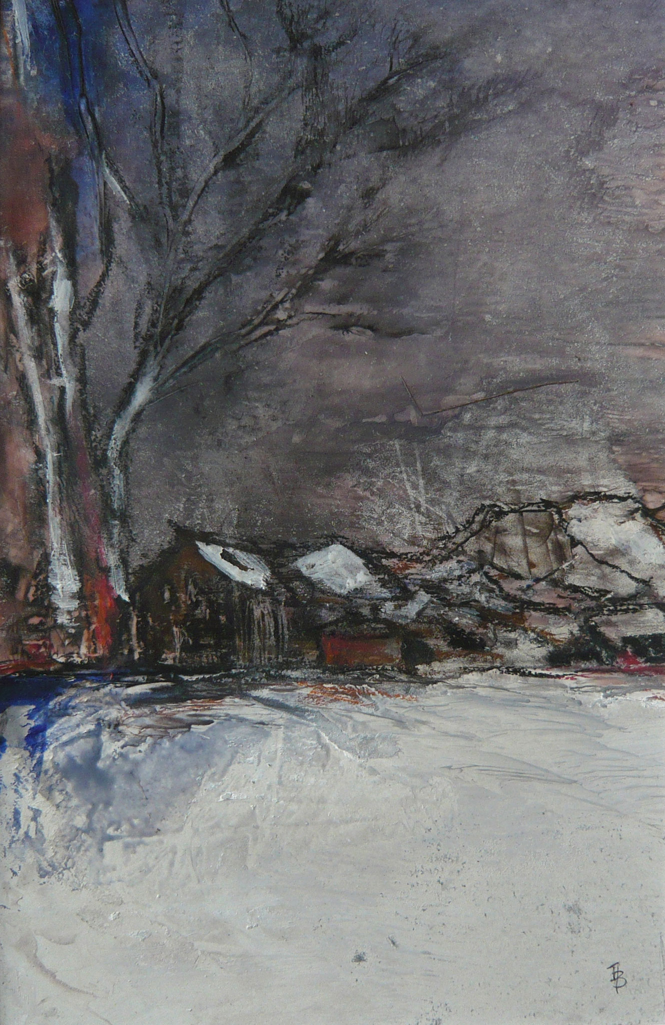 Erster Schnee, Mischtechnik, 34 x 21cm