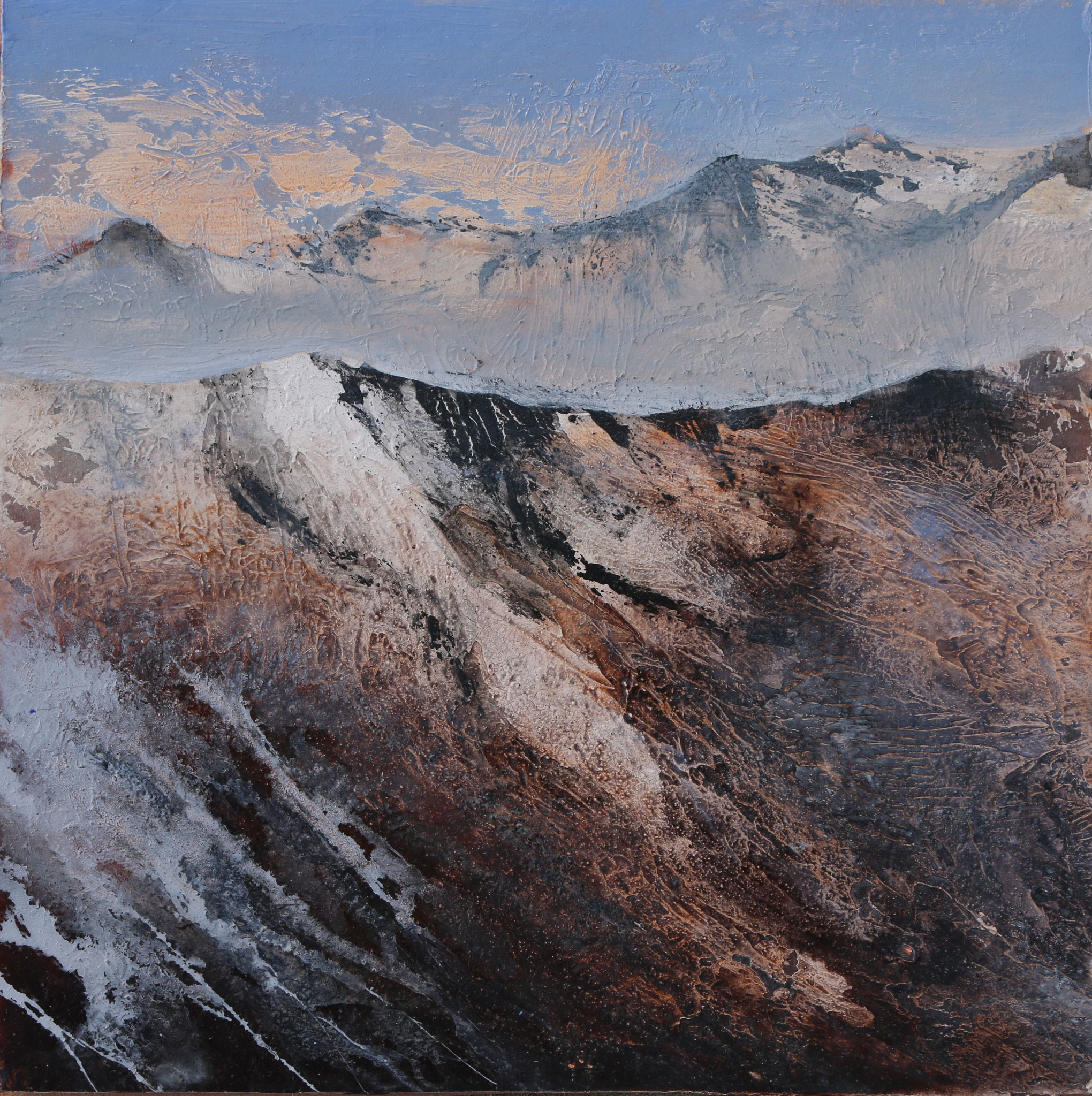 Fisser Bergwelten II, Mischtechnik, 35 x 35 cm