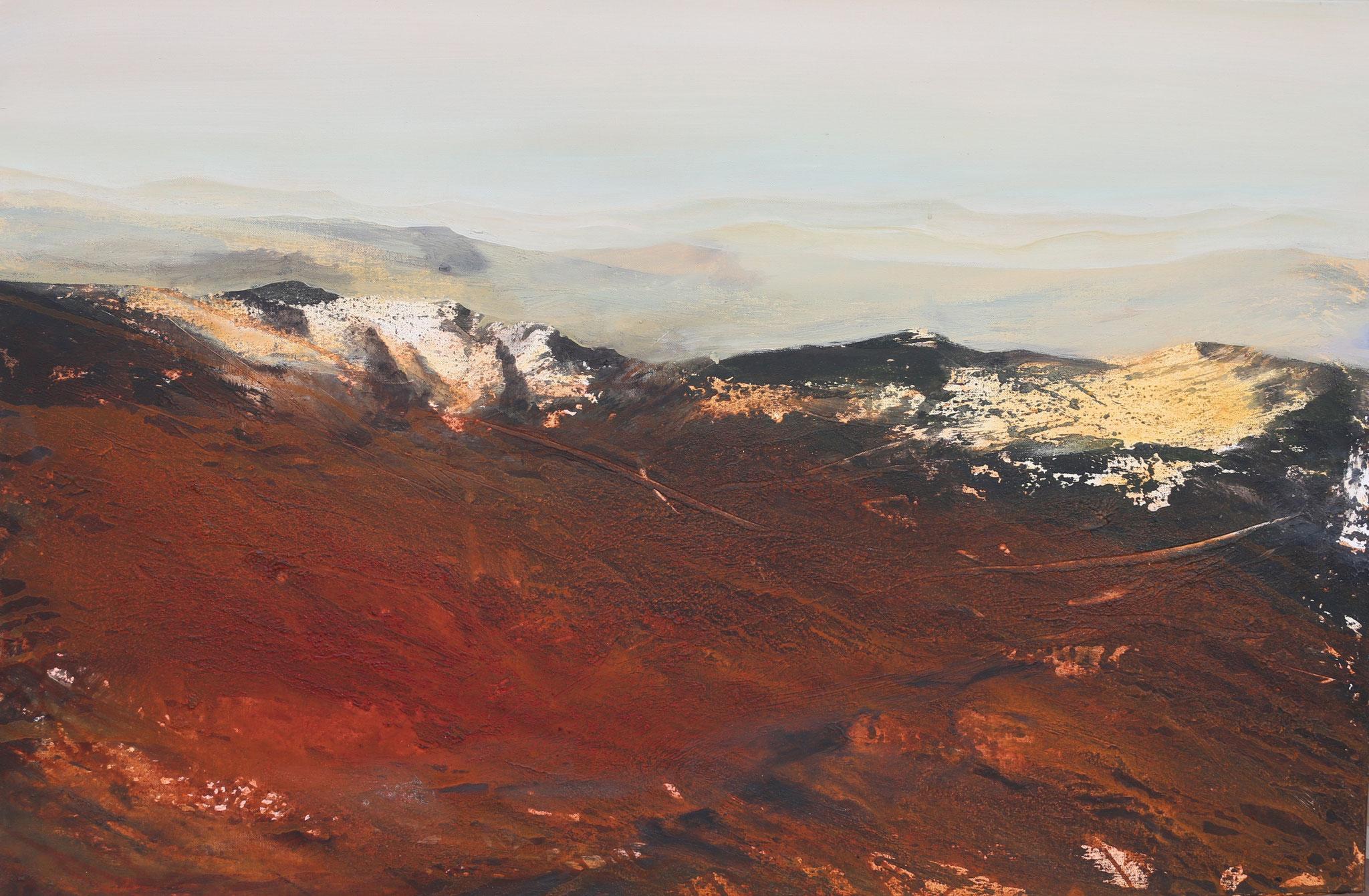 Abendlicht in den Bergen, Mischtechnik, 80 x 120 cm