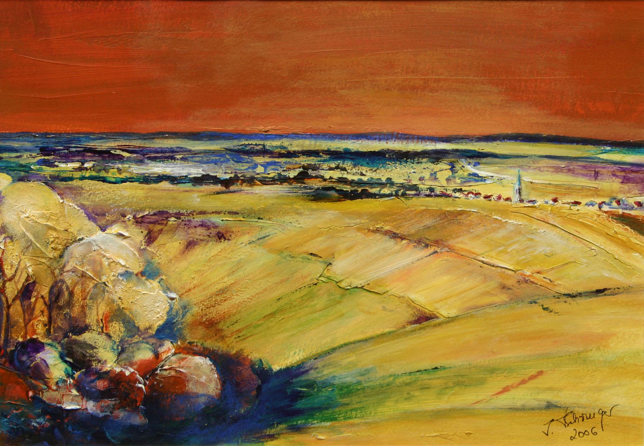 Fernblick, Acryl, 25 x 40 cm