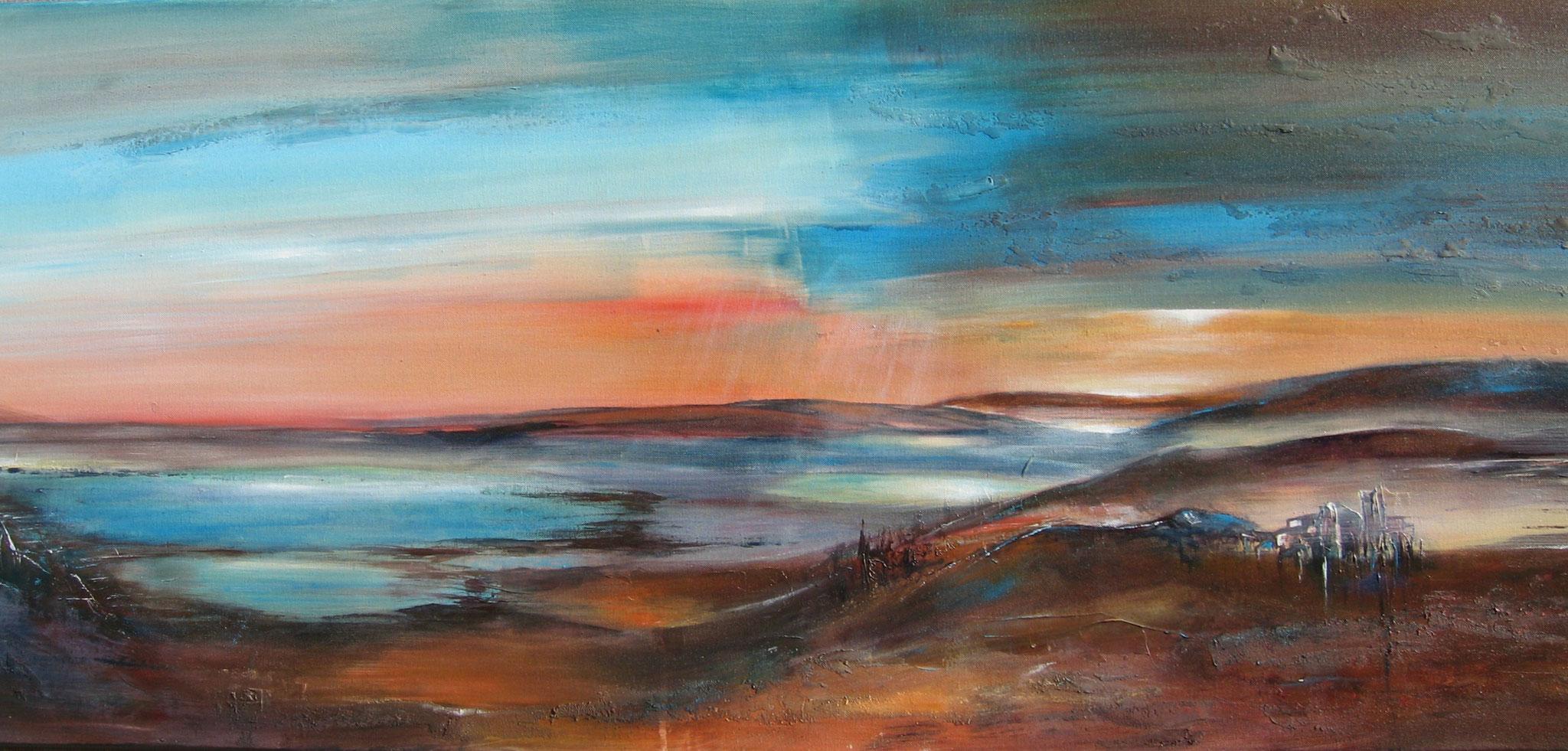 Fünfseenlandschaft, Acryl, 60 x 165 cm