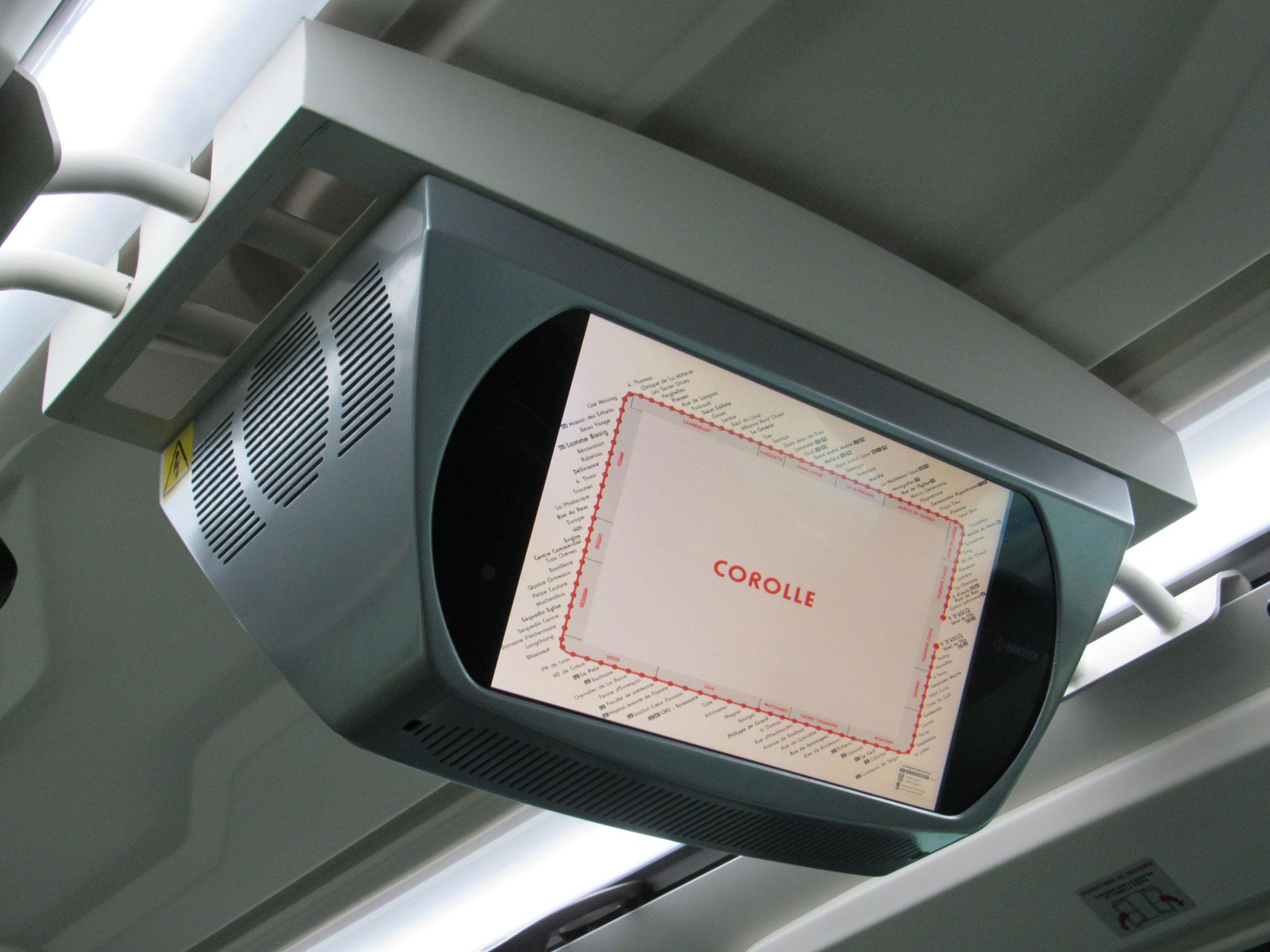 Écran Hanover présent dans le bus 10416 - écran similaire présent depuis 2015 dans le 10093 (Agora S GNV)