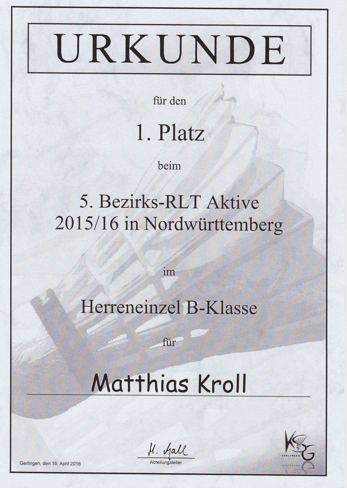 Urkunde Herreneinzel 1. Platz Matthias