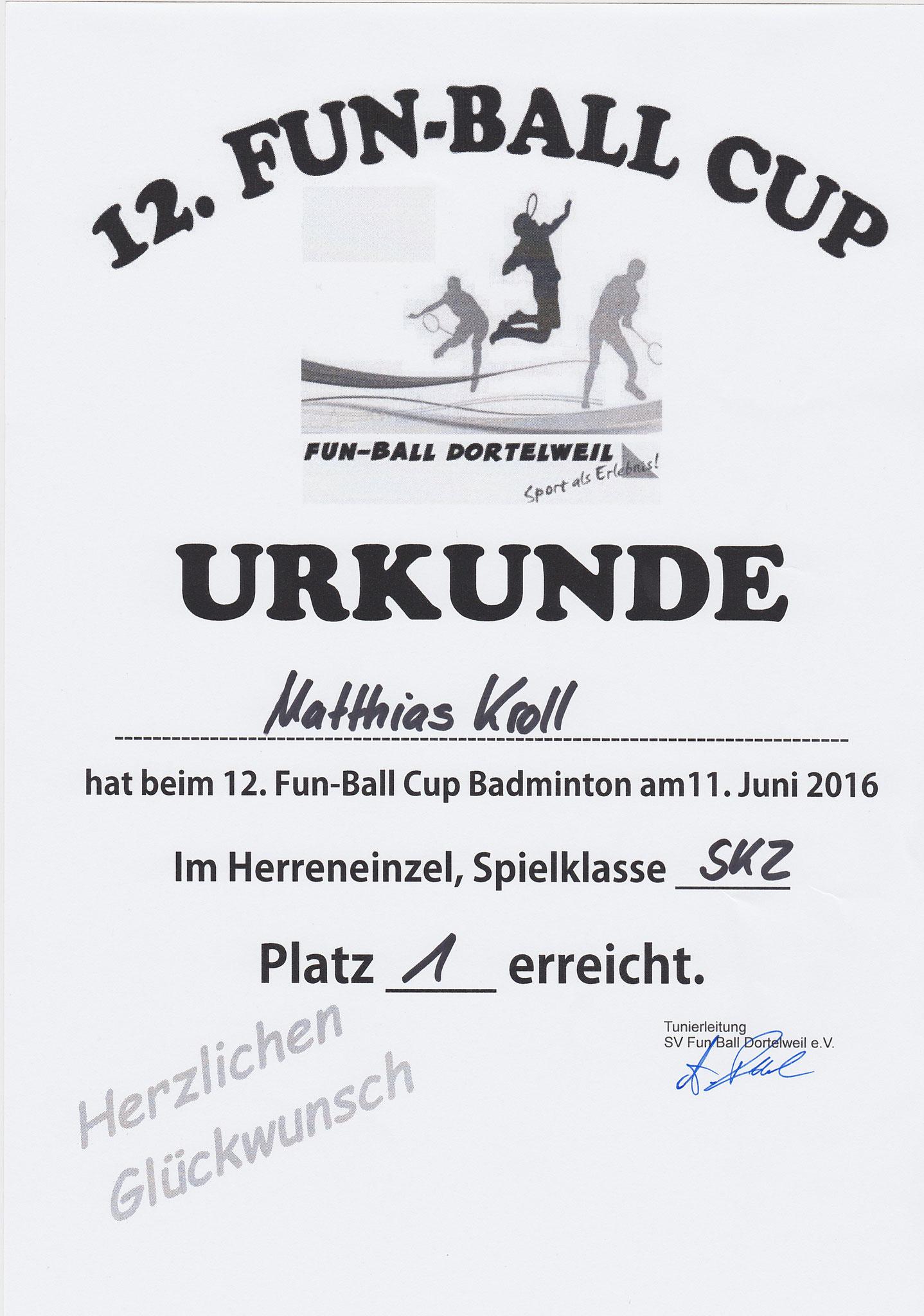 Urkunde Fun-Ball-Cup Dortelweil