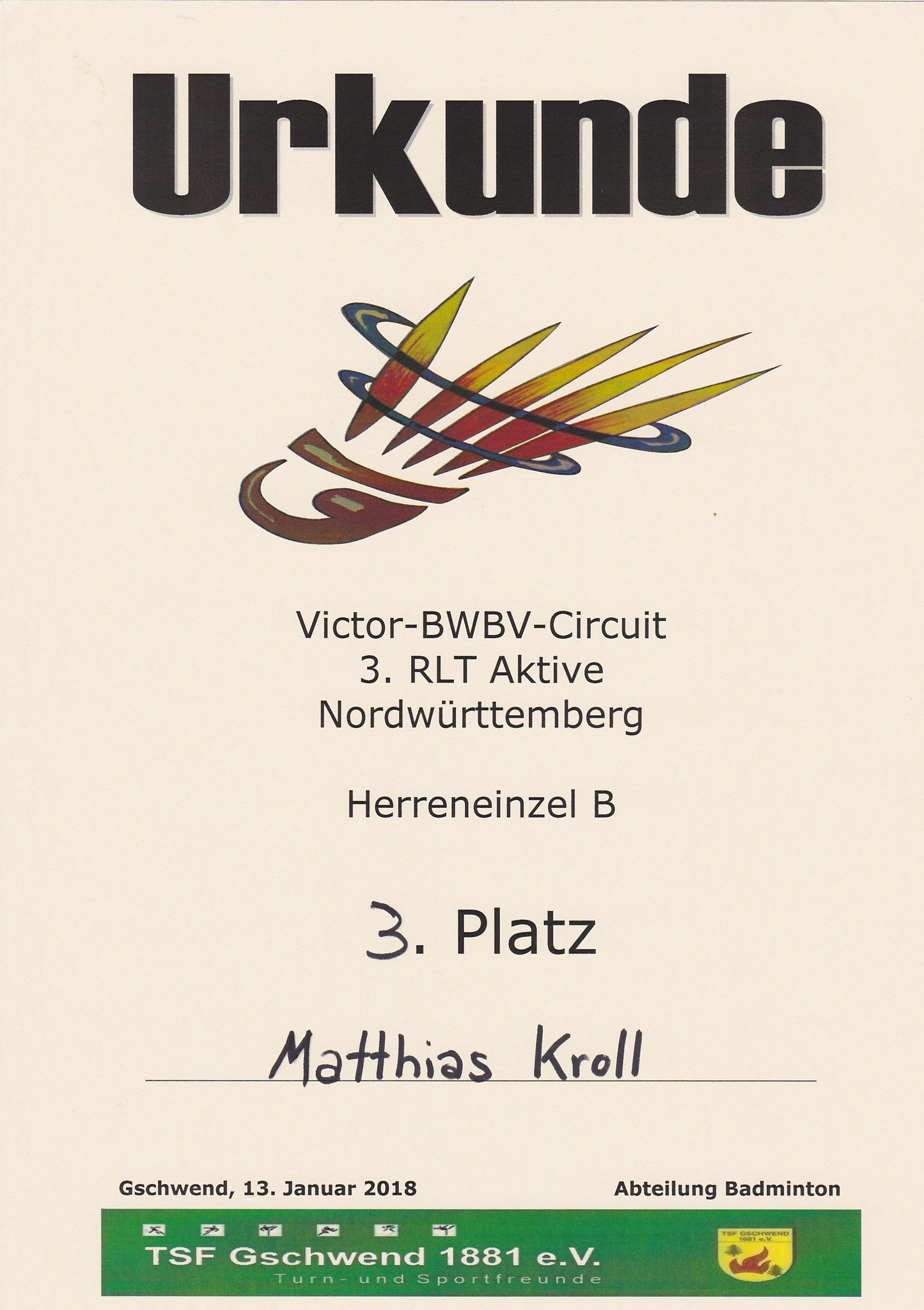 Urkunde Herreneinzel 3. Platz