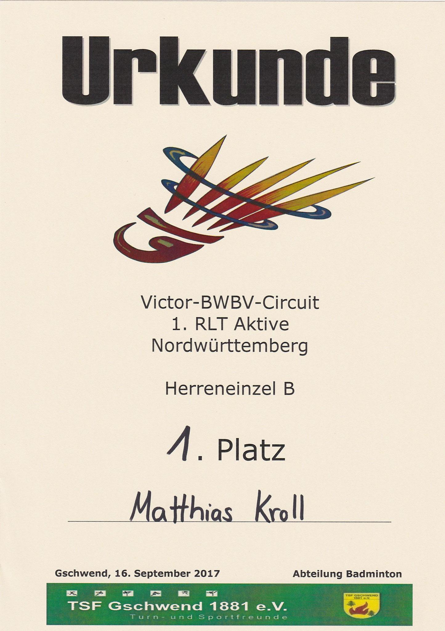 Urkunde 1. Platz Herreneinzel