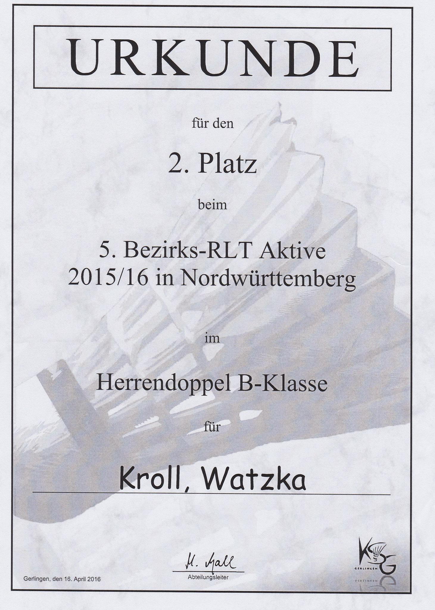 Urkunde Herrendoppel 2. Platz Timo und Matthias