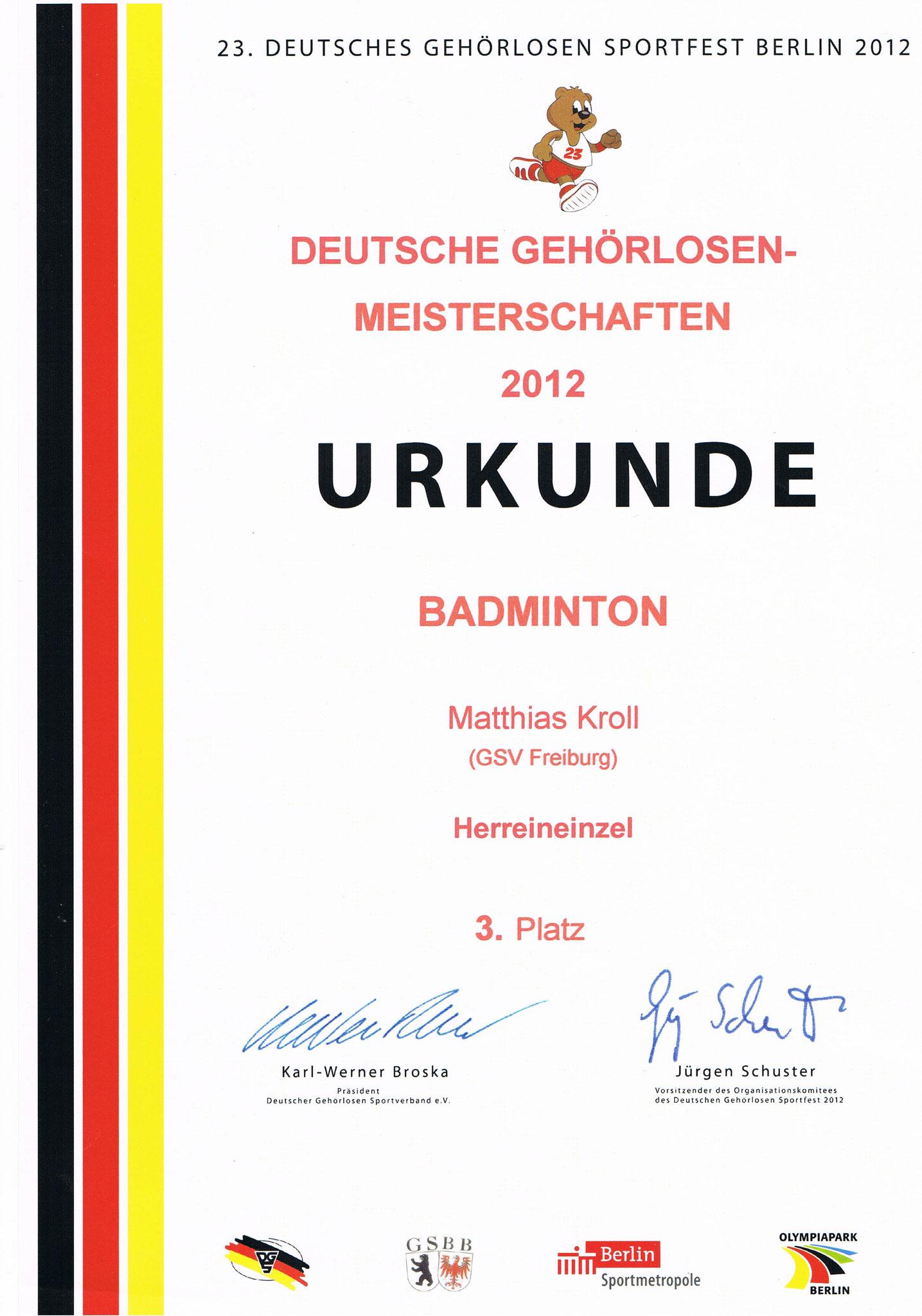 Urkunde Berlin Herrendoppel Deutscher Meister