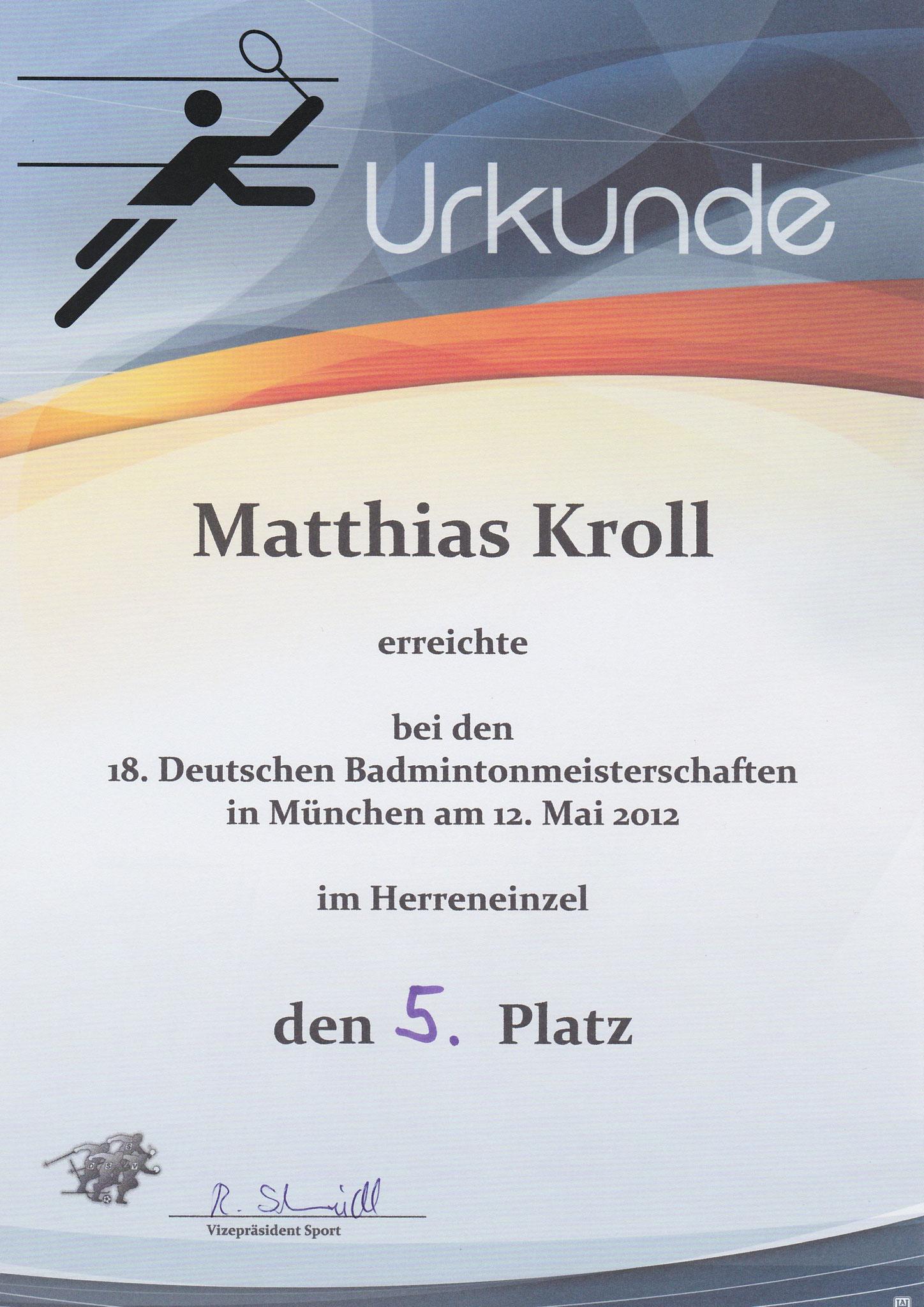 Urkunde Herreneinzel 5. Platz DSSV DM München 2012