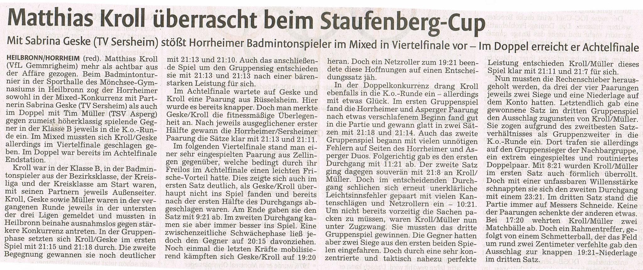 Bericht in der vkz zum Turnier in Heilbronn