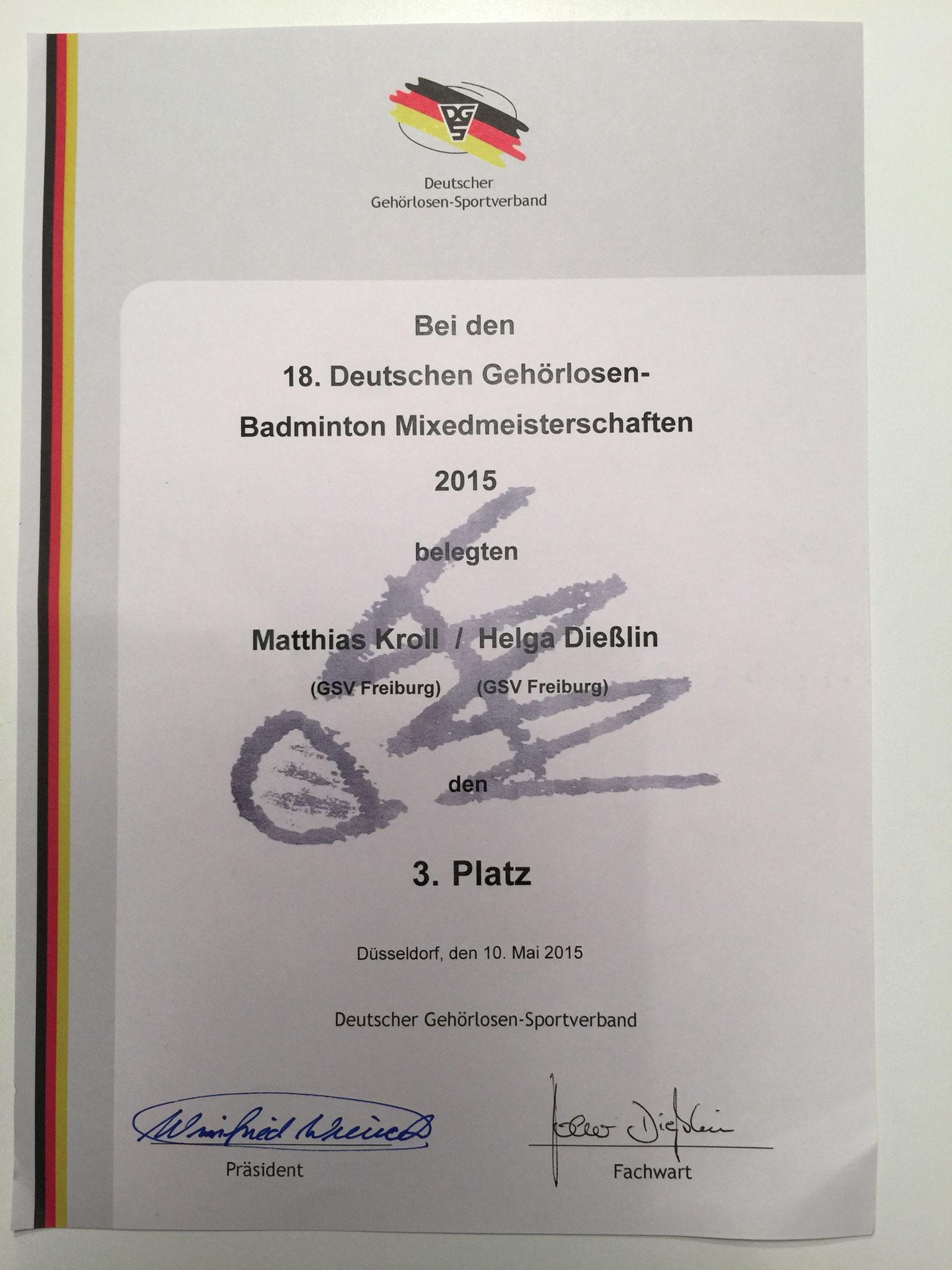 Urkunde 3. Platz Mixed-Doppel