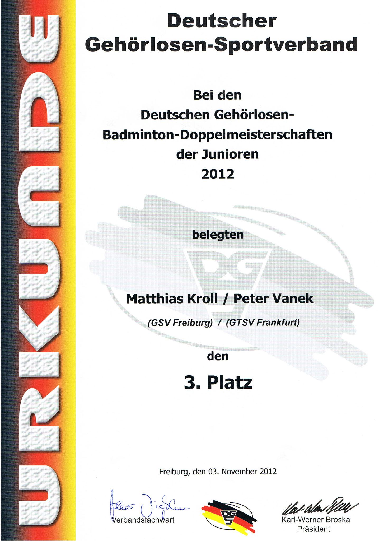 Urkunde Herrendoppel 3. Platz