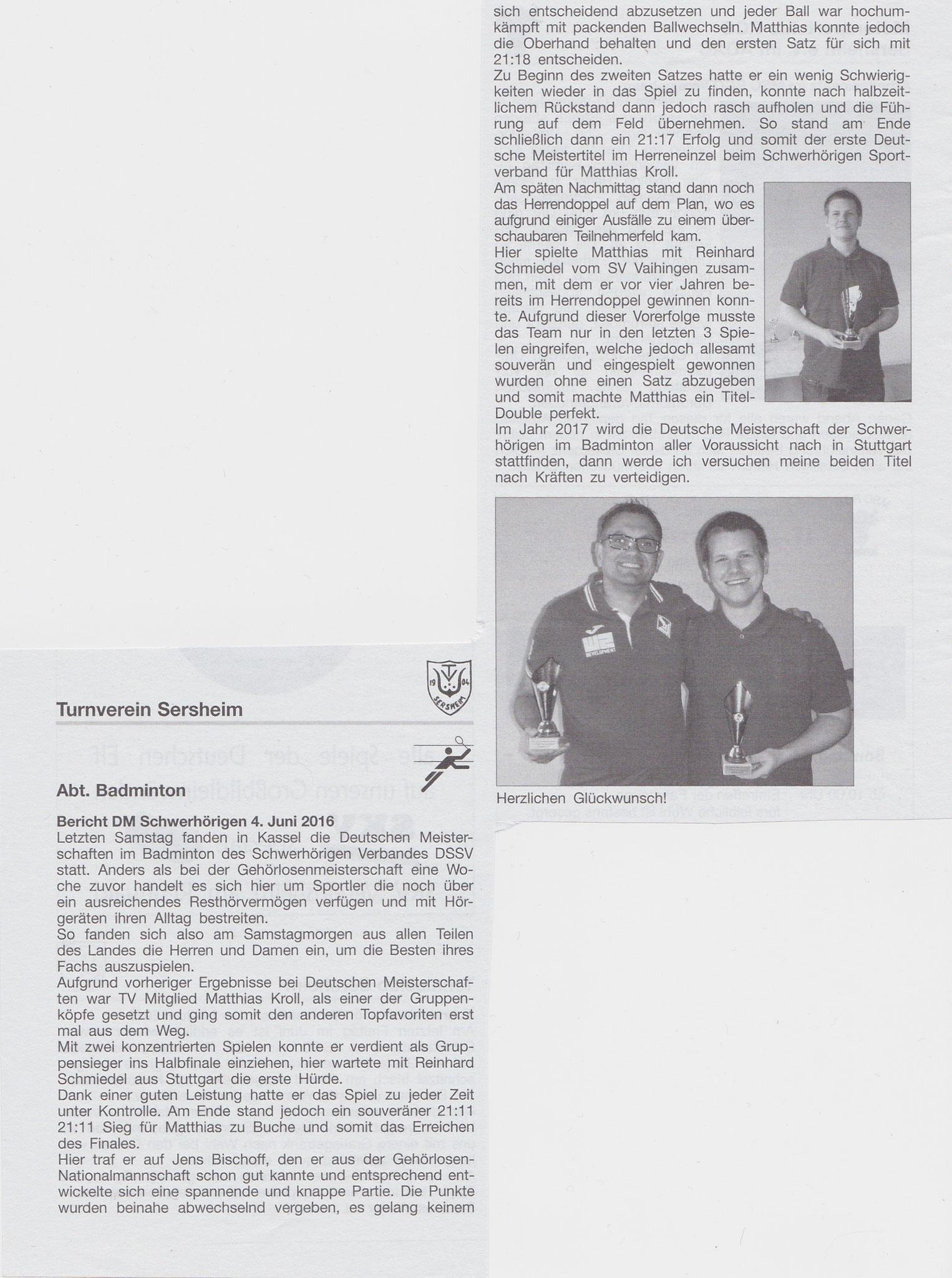 Bericht Sersheimer Blättle DM DSSV Kassel