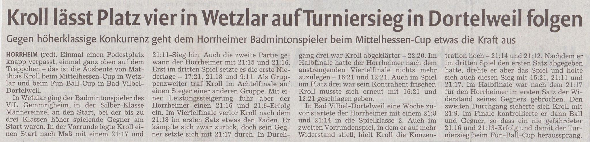 Bericht vkz zum Mittelhessen-Cup Wetzlar