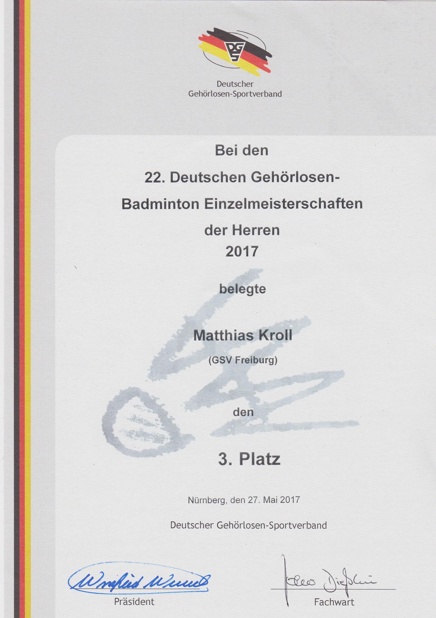 Urkunde Herreneinzel 3. Platz Matthias
