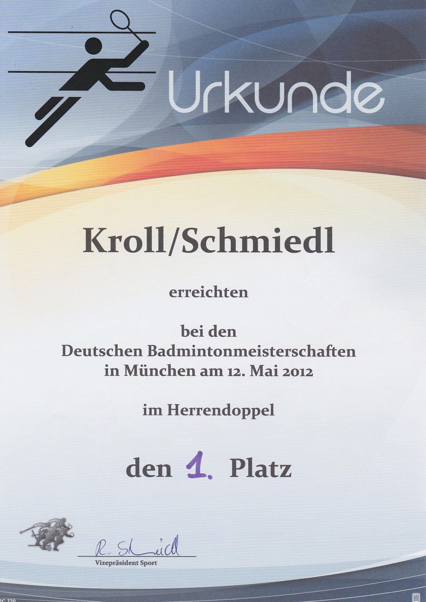 Urkunde Herrendoppel 1. Platz DSSV DM München 2012