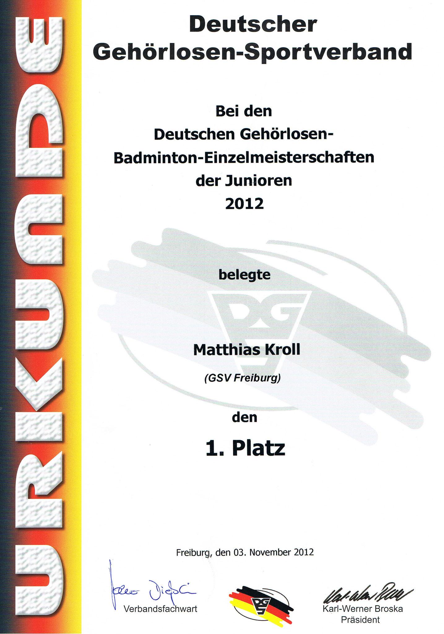 Urkunde Herreneinzel 1. Platz