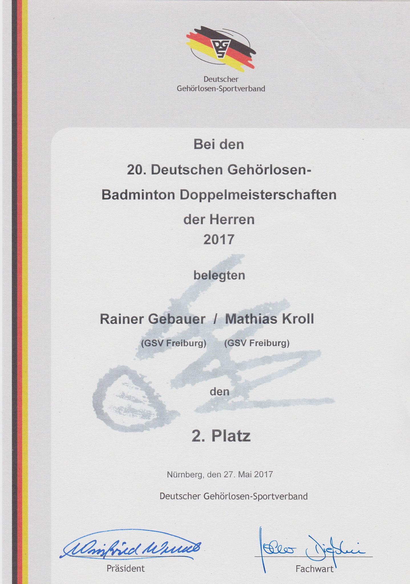 Urkunde Herrendoppel 2. Platz Matthias und Rainer