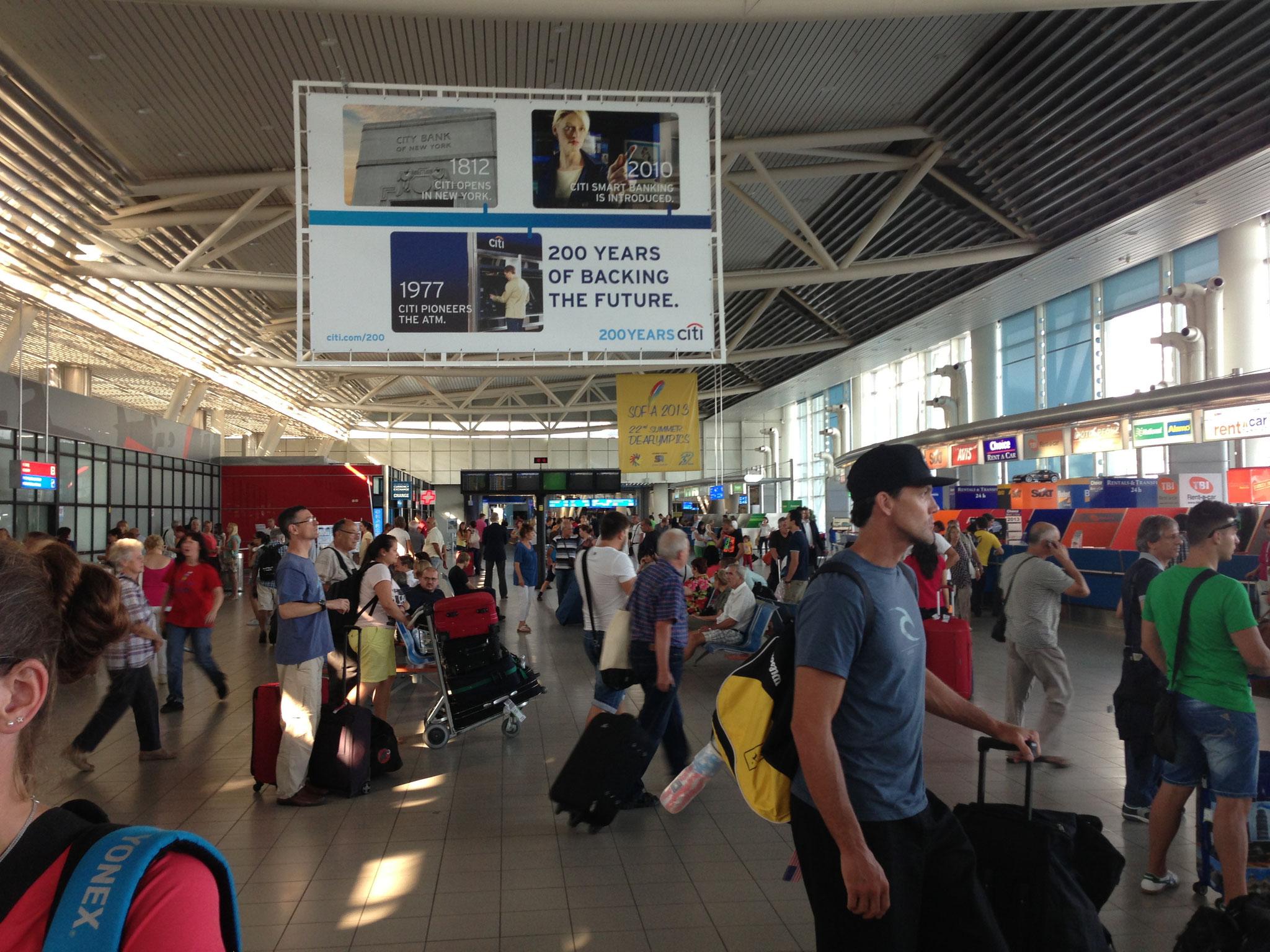 Ankunft am Flughafen von Sofia