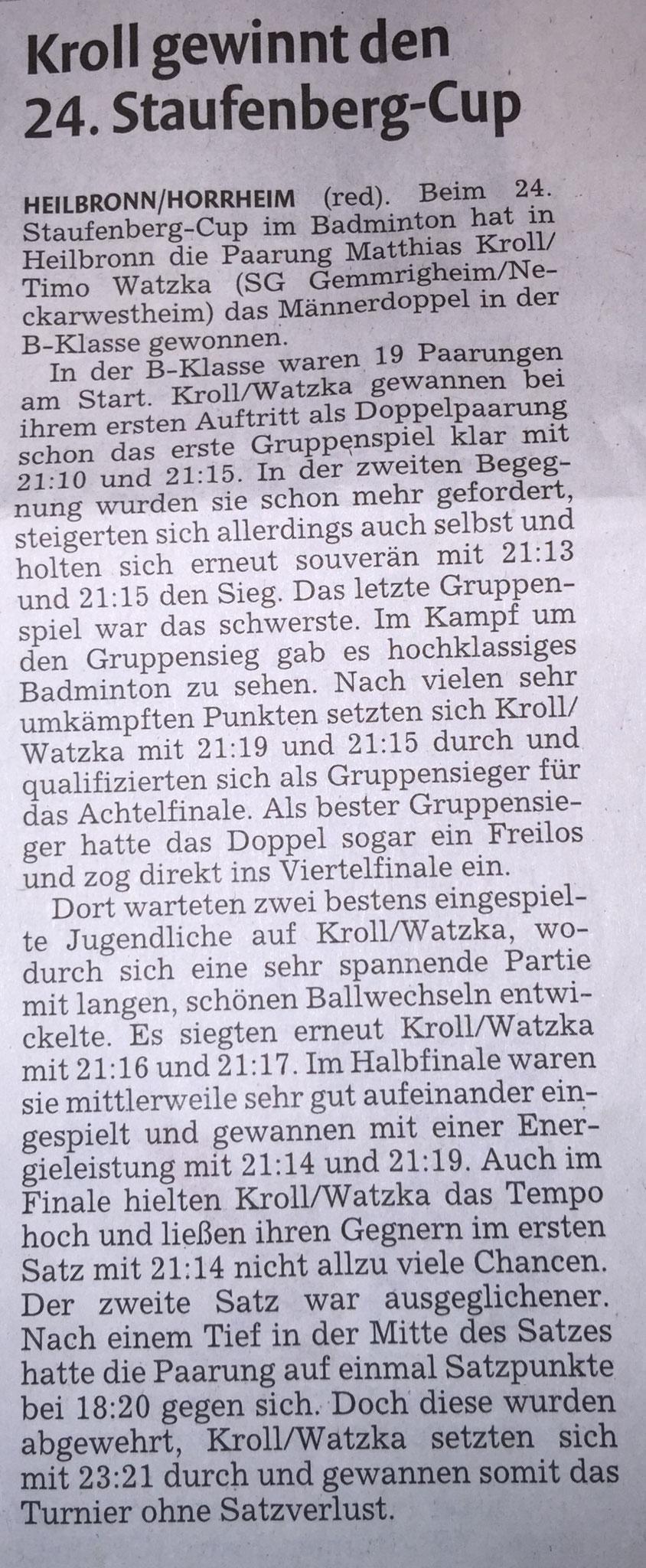 Bericht vkz zum Staufenberg-Cup Heilbronn 2015