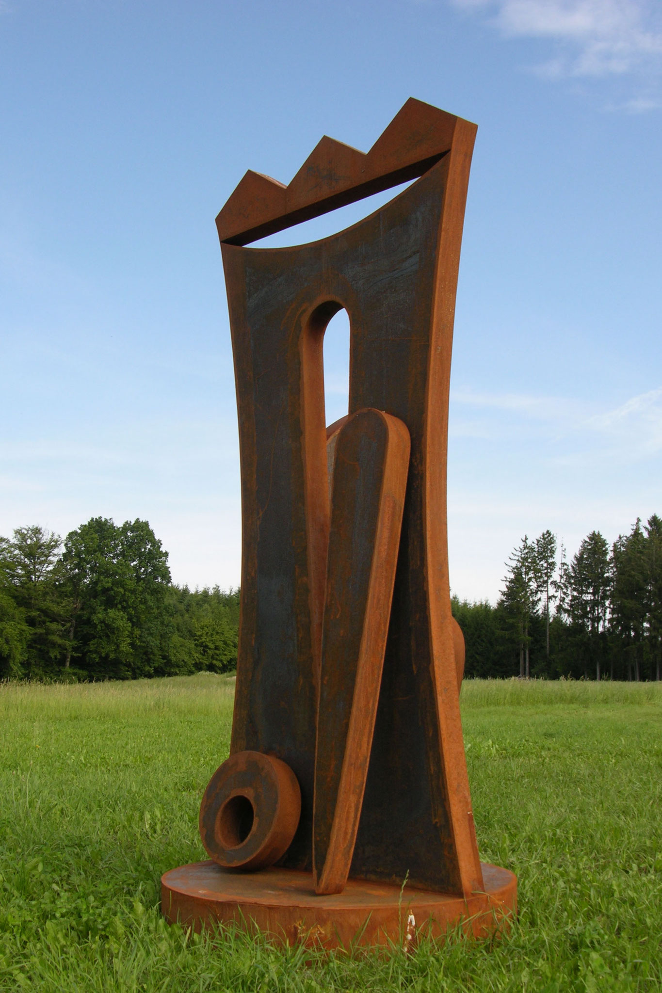 Abstract Cor-Ten sculpture by HEX. HEX is a Fellow of the ROYAL BRITISH SOCIETY of SCULPTORS.