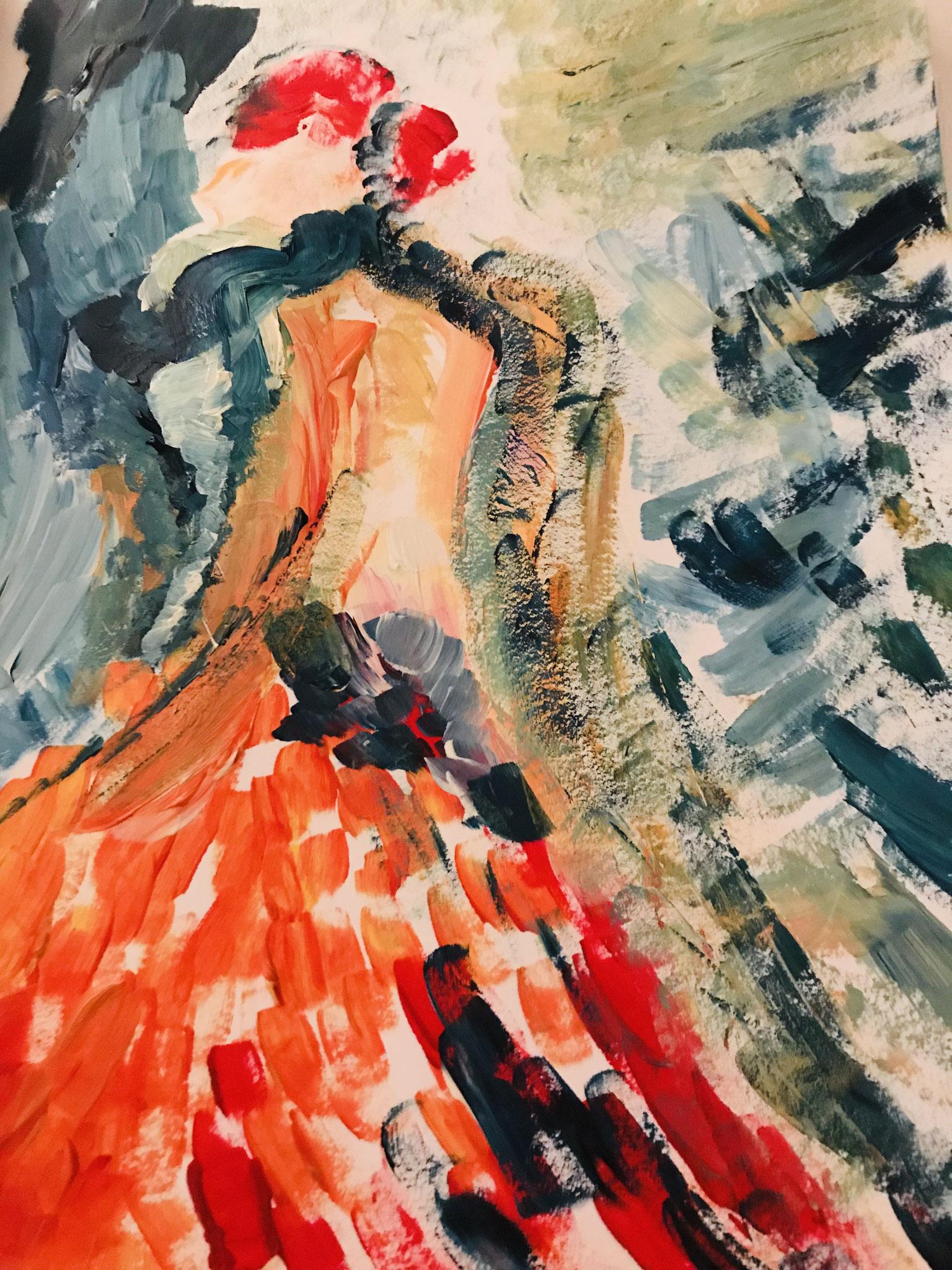 Flamencolady in red, Acryl auf Papier