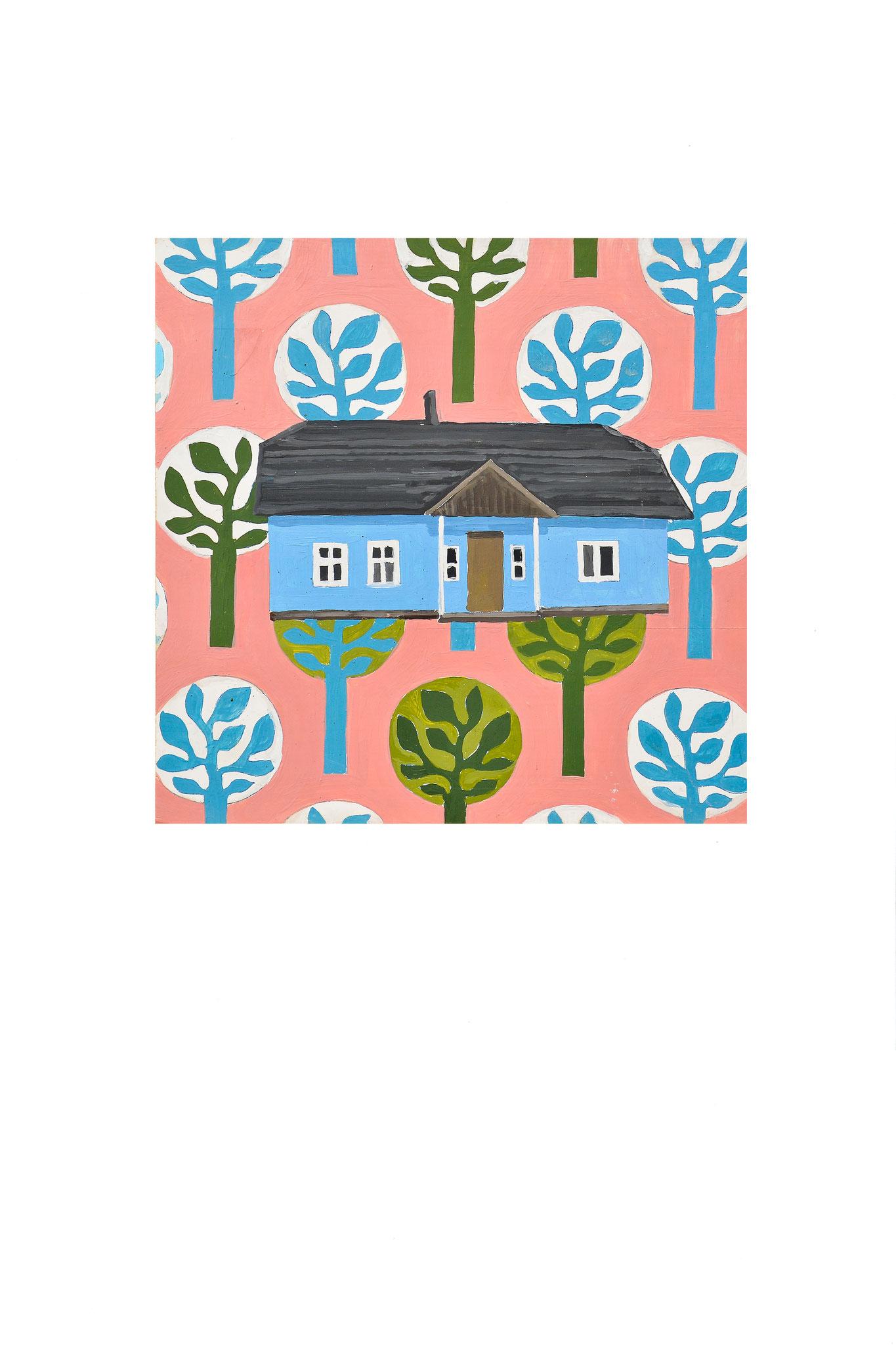 Altes Blaues Märchen Haus Öl auf Holz 30cm x30cm