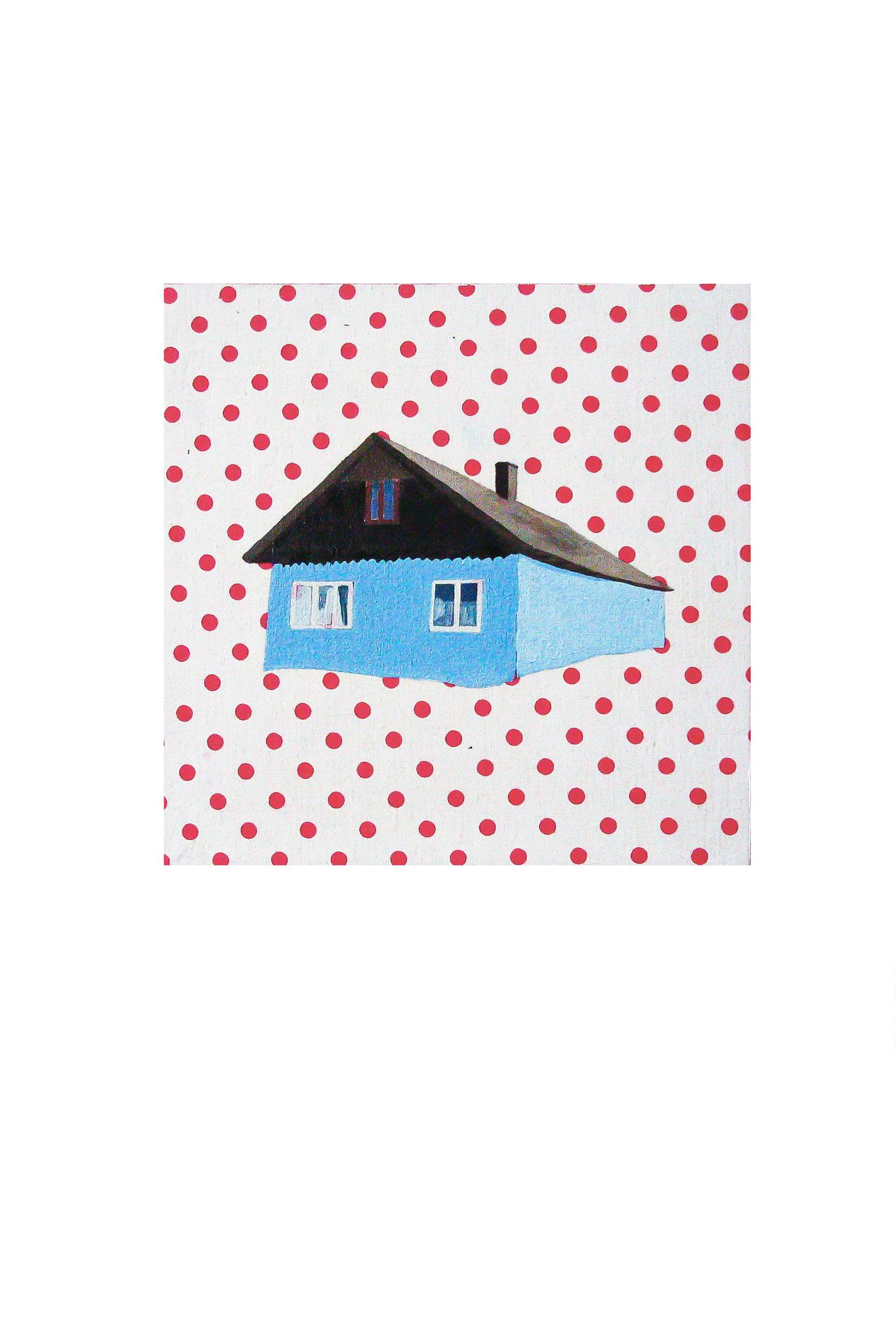 Haus mit Blaue Wand Öl auf Holz 23,5cm  x 23,5 cm  Im Privat Besitz