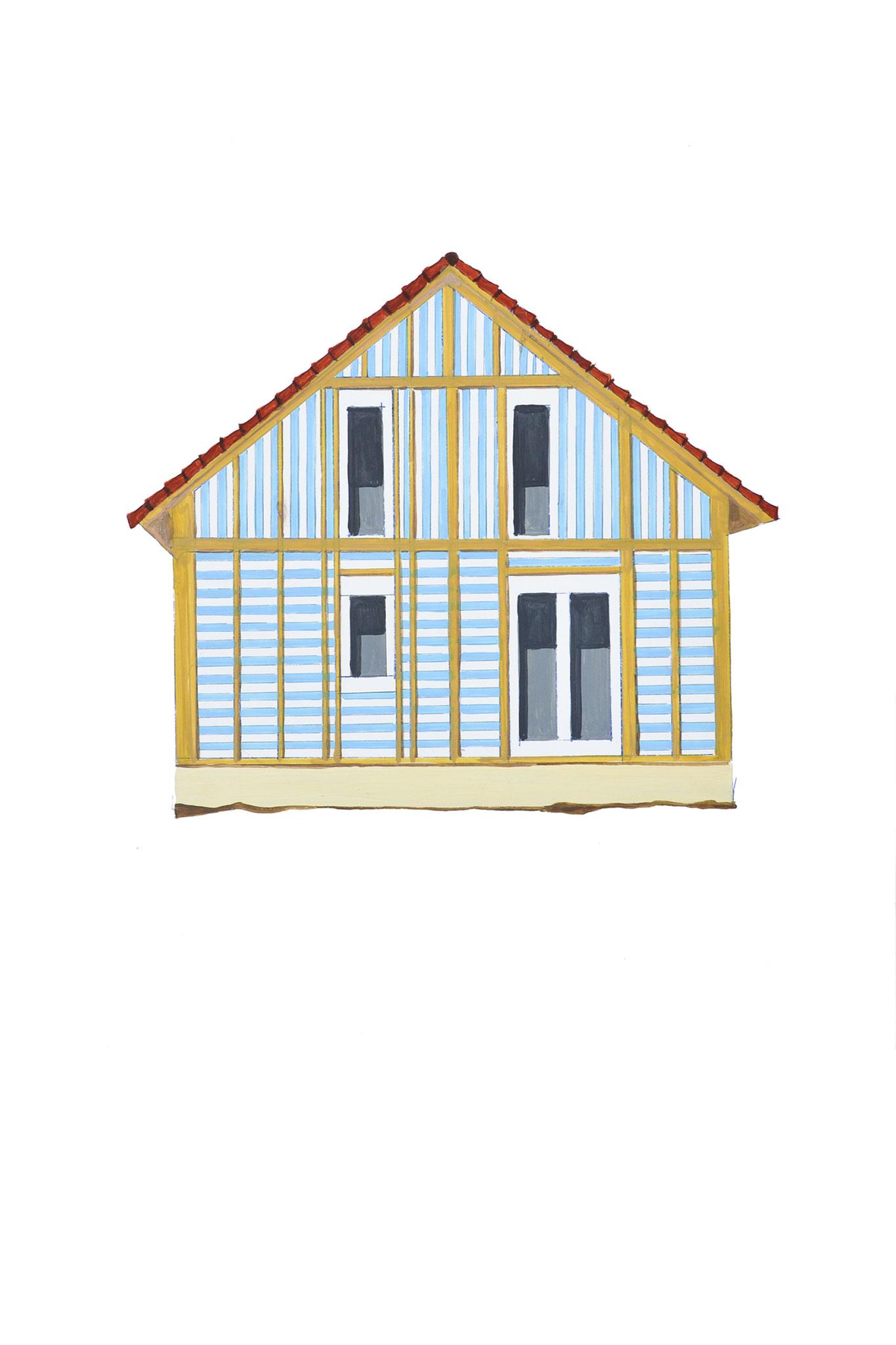 Daniel Buren Haus Öl auf Holz 40cm x 40 cm/ 2012