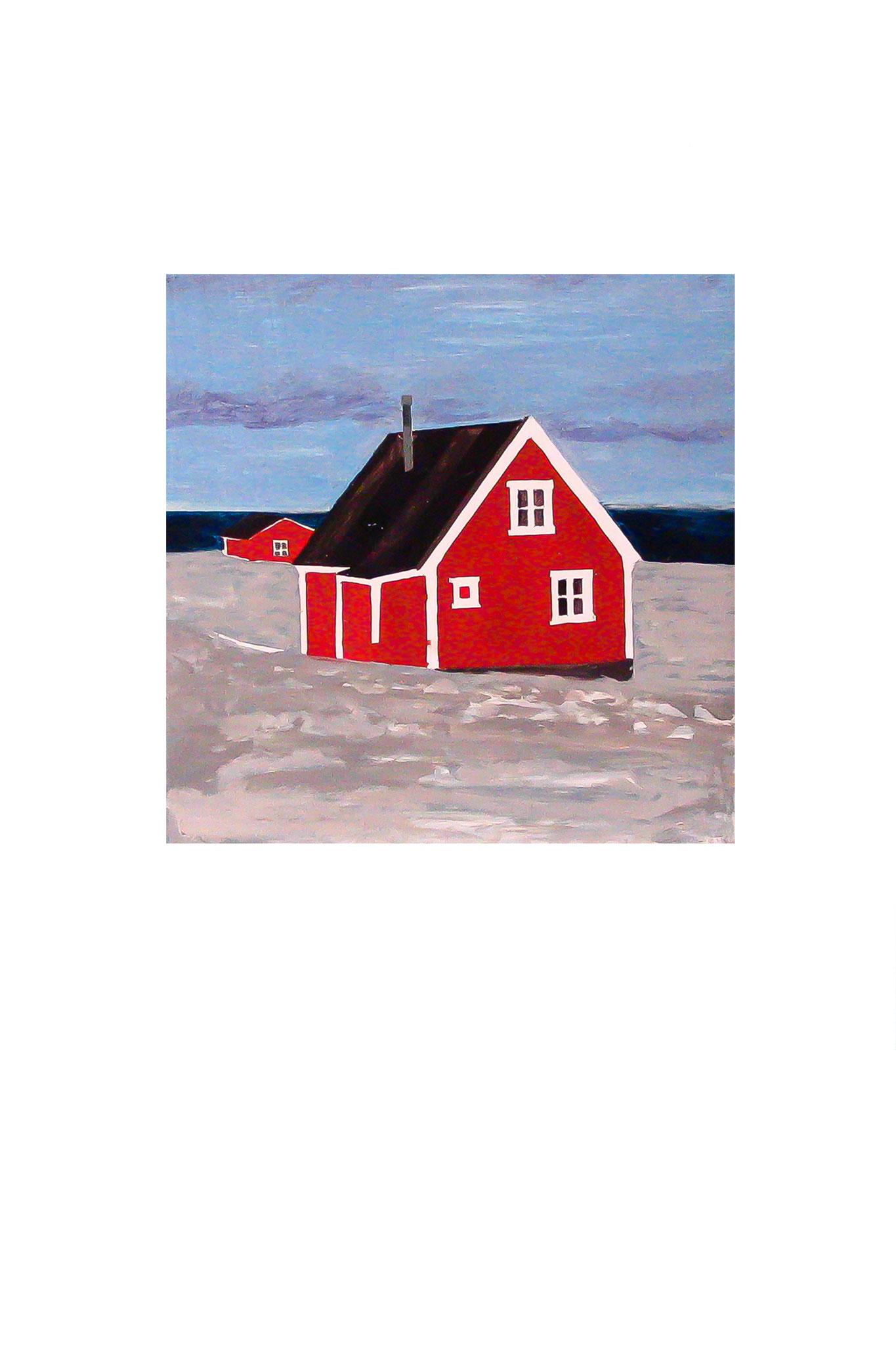Haus im Norden Öl auf Holz 23,5 cm x 23,5 cm