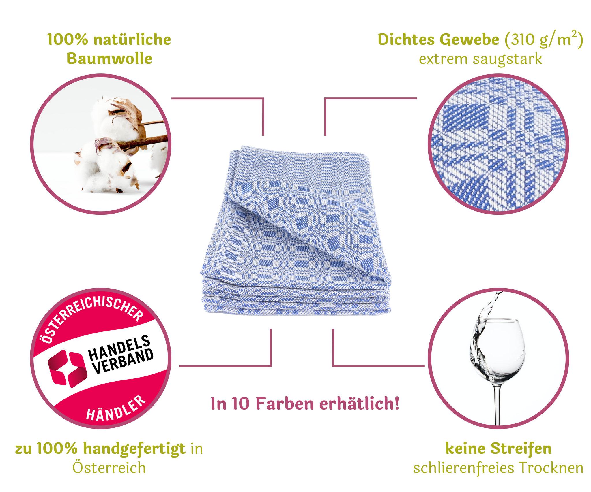 100% natüirliche Baumwolle, Dichtes Gewebe, handgefertigt in Österreich