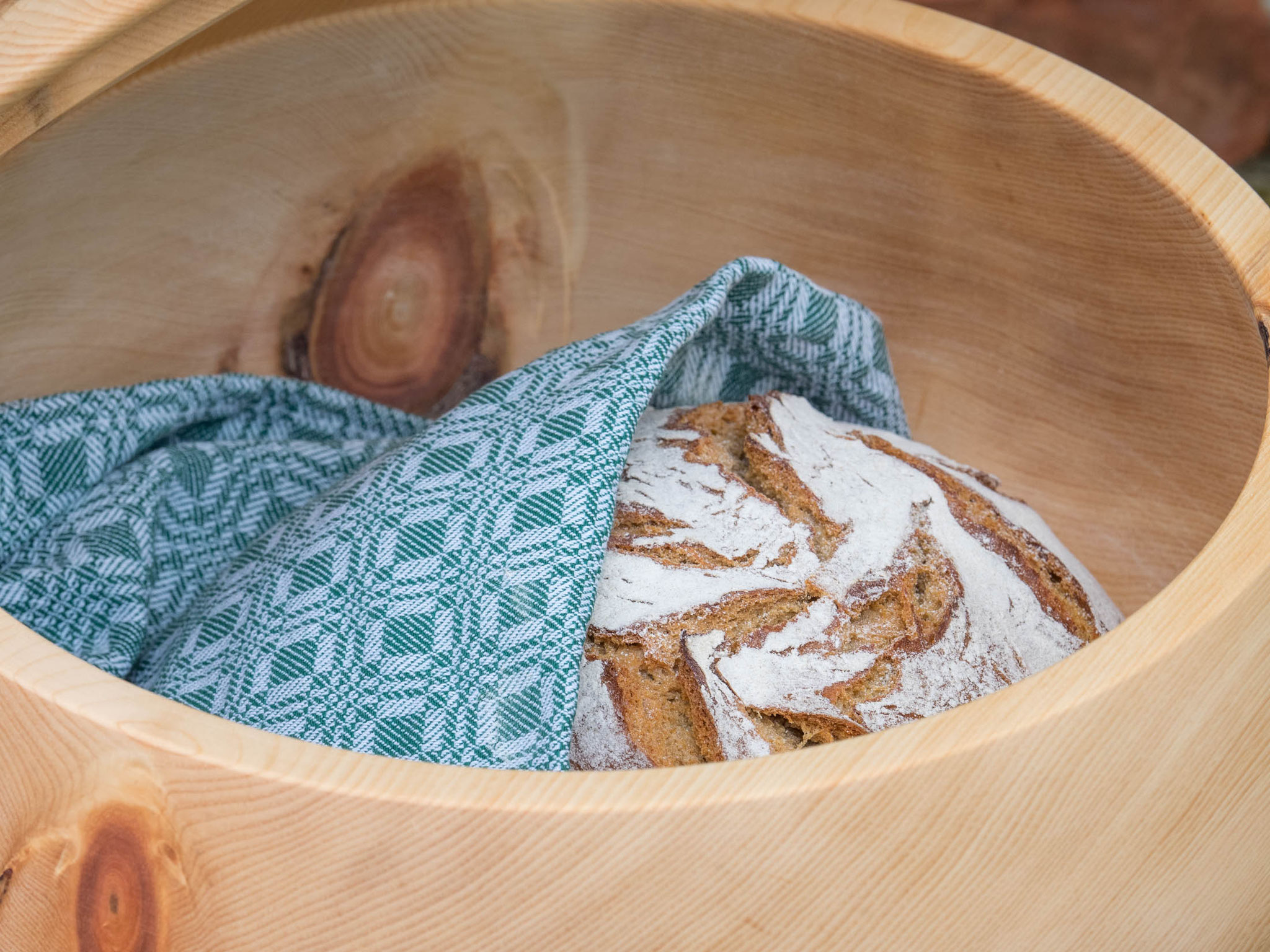 Brotdose XL Brot im grünem Zwilch