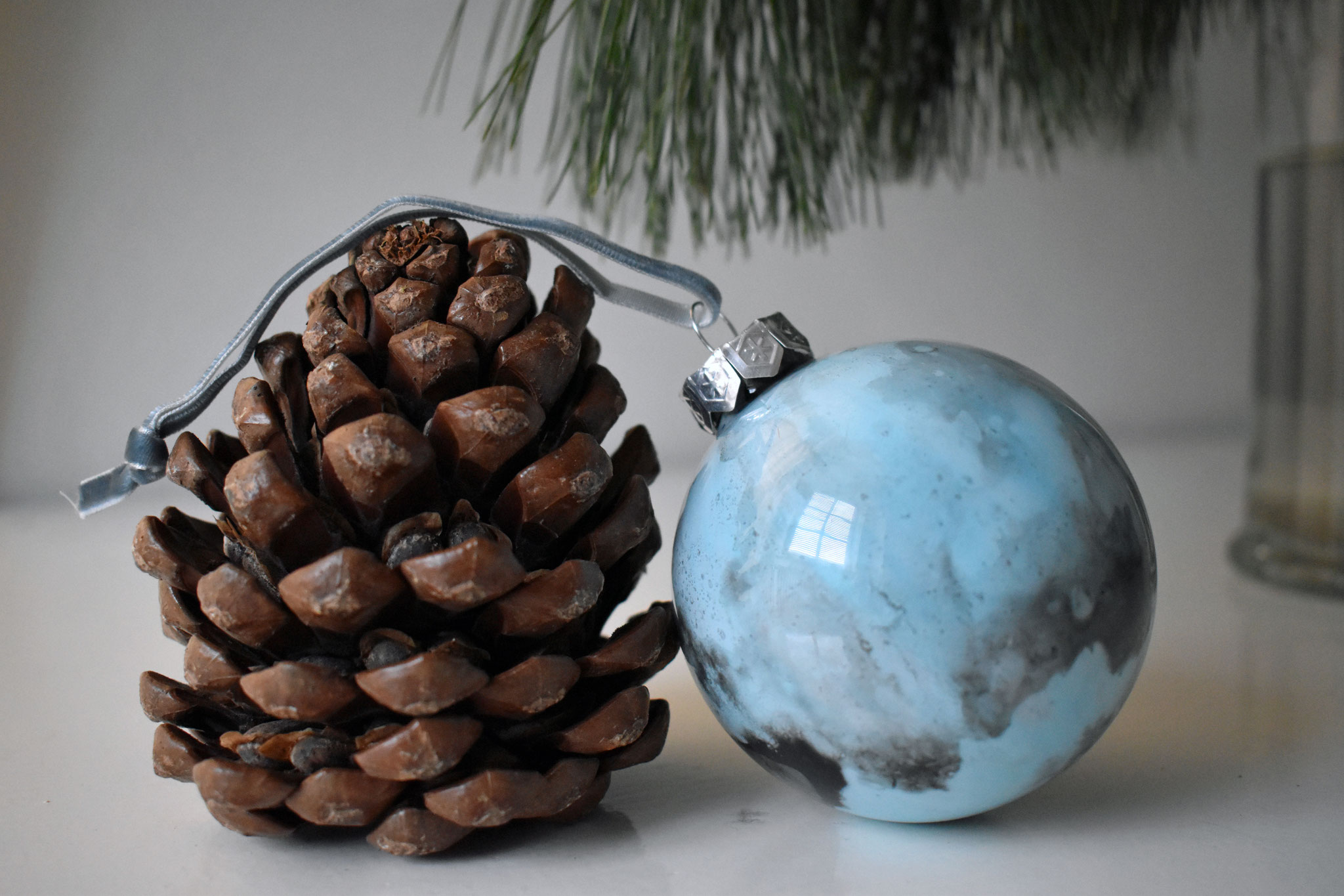 """Winter Fog"" glass Christmas ornament, ∅ 8 cm € 39.- SOLD"
