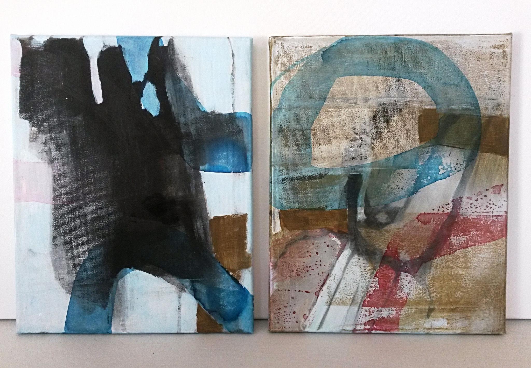 Acryl, houtskool en ecoline op canvas 30x24 cm Serie 'Beweging' 2017