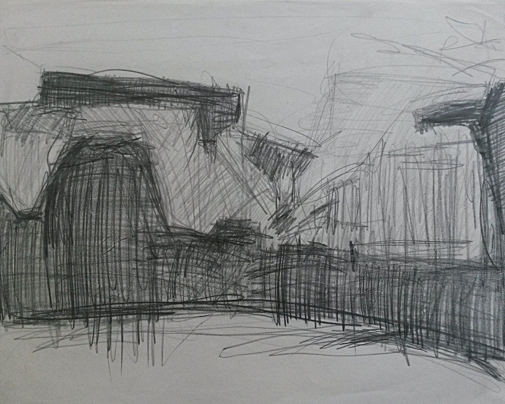 Landschap Grafiet, 50 x 60 cm 2015