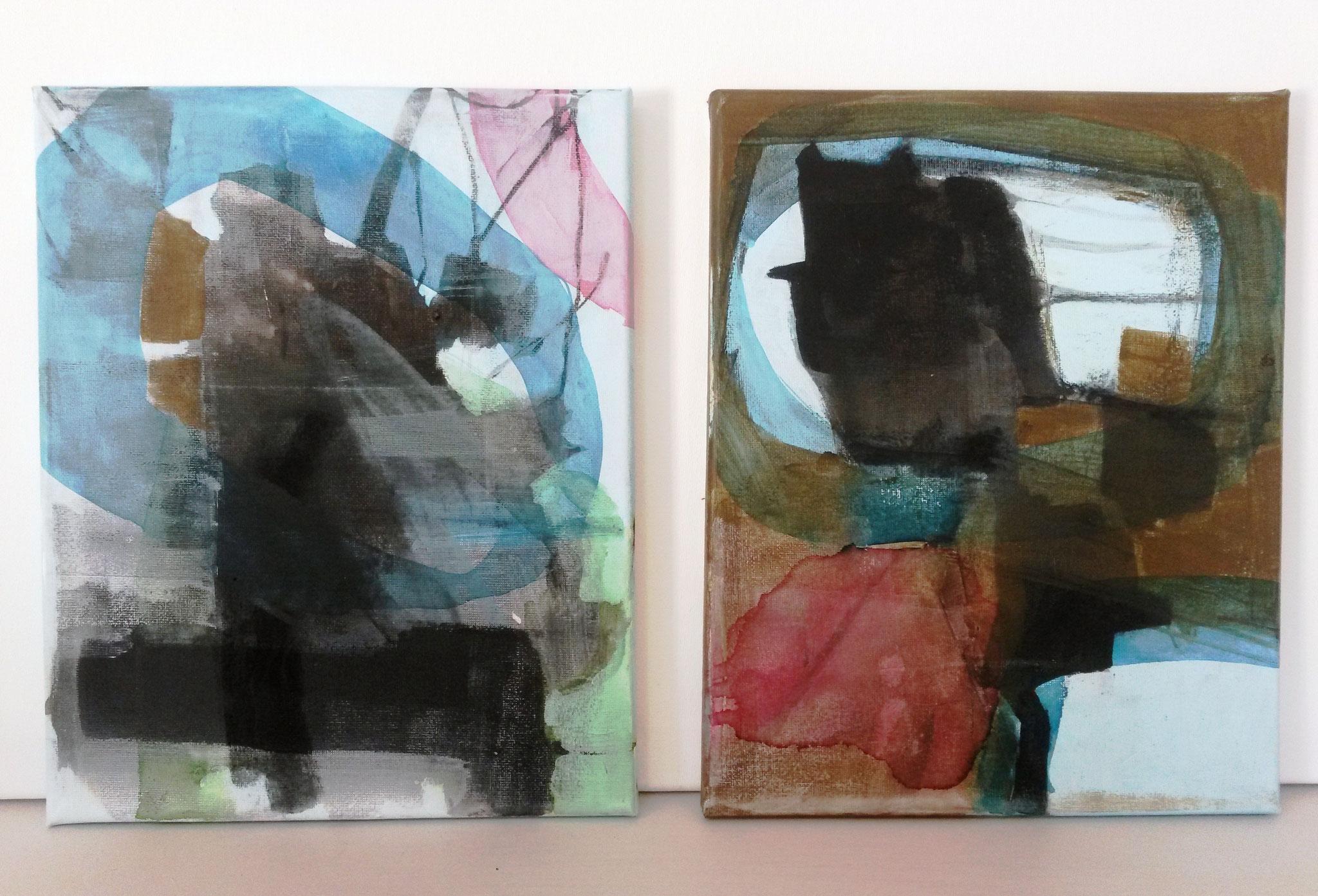 Serie 'Beweging' Acryl, houtskool en ecoline op canvas 24 x 30 cm 2017