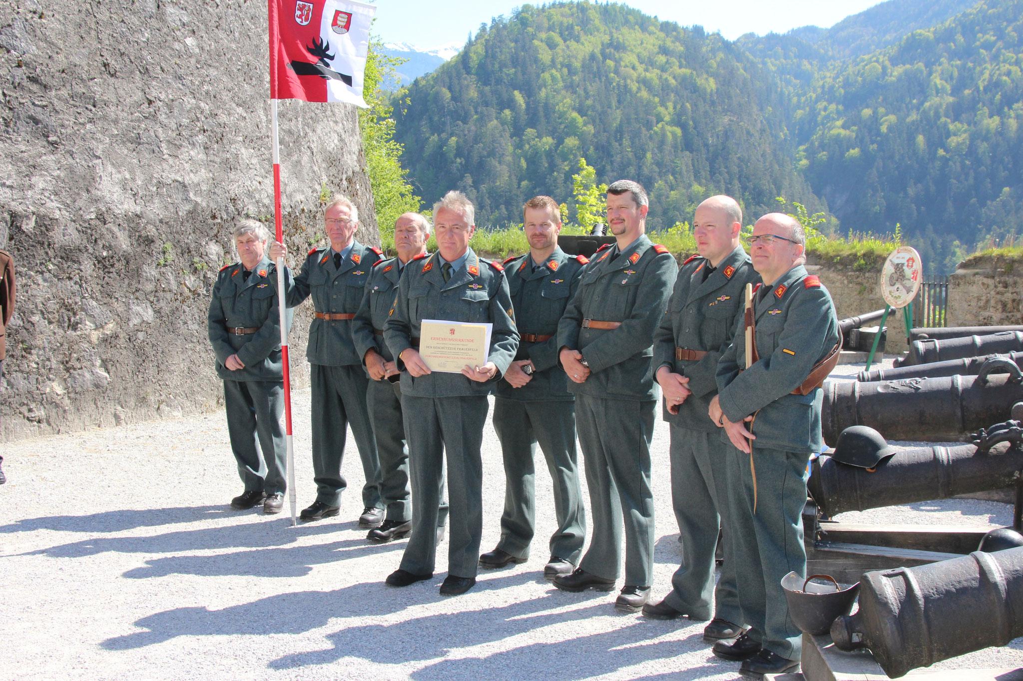 Die Frauenfelder Mannschaft wurde zum Ehrengeschützzug der Stadt Frauenfeld ernannt