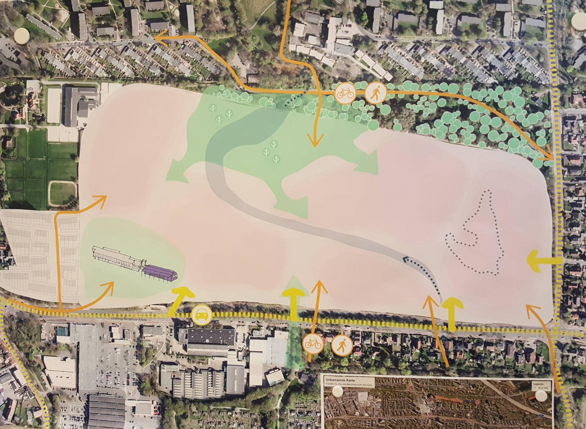 Viel Grün und für alle nutzbare Flächen sollen auf dem neuen Rennbahnquartier entstehen