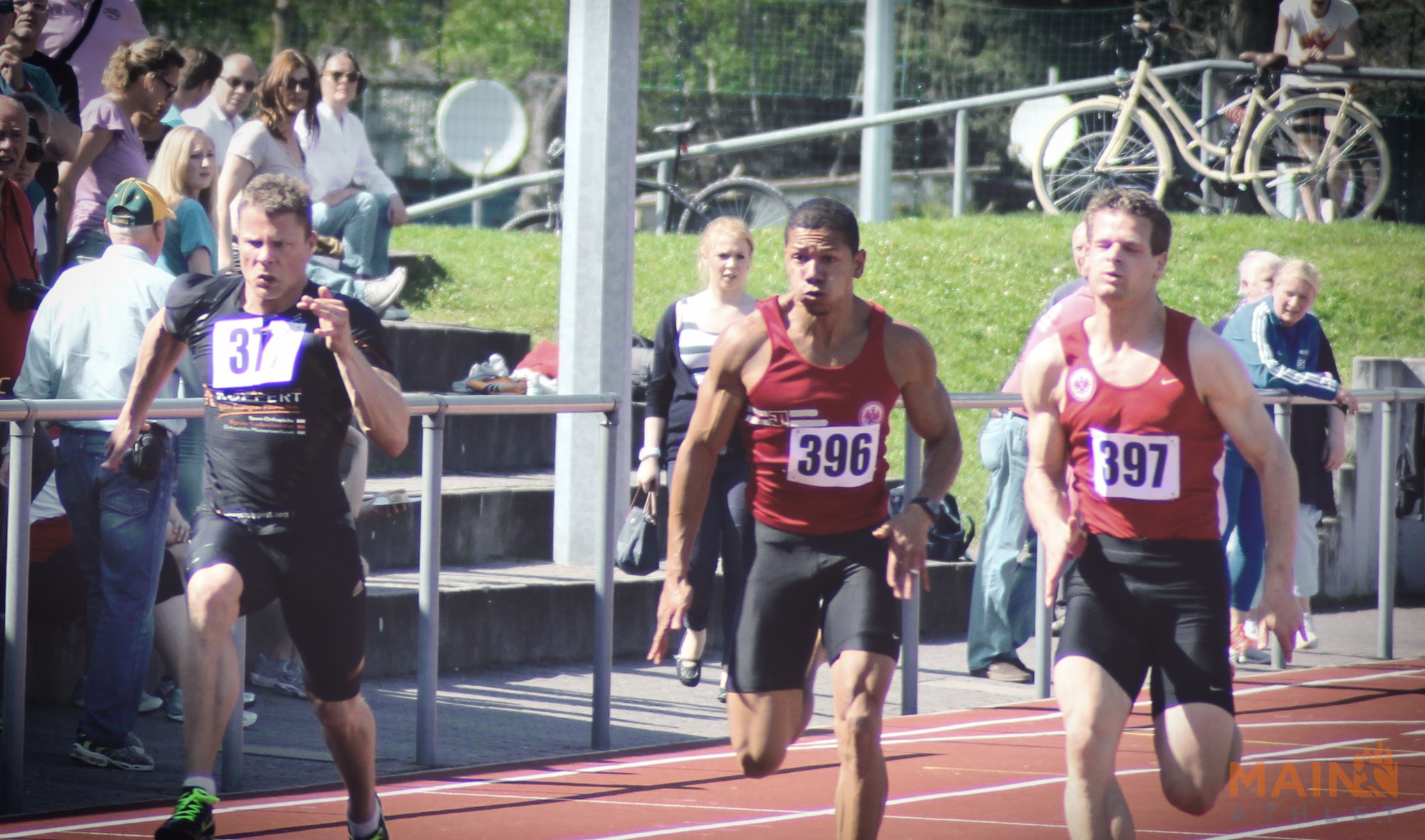 Michael Pohl, Benjamin Brömme und Nils Müller im 100m Sprint.