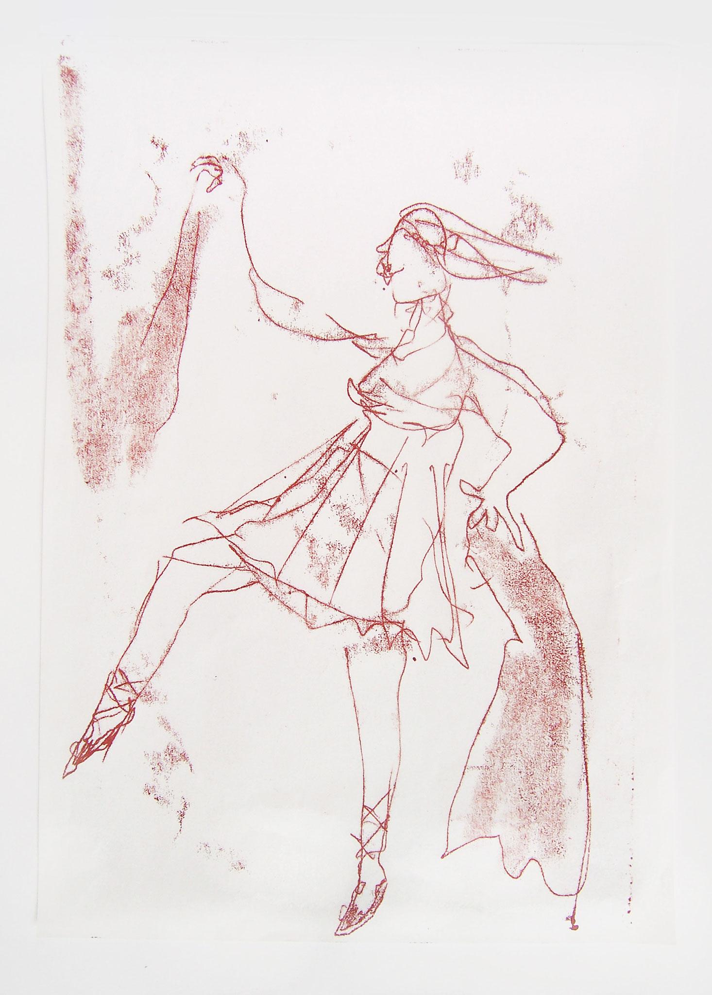 Wie die Wigman, Monotypie, 70 x 50 cm