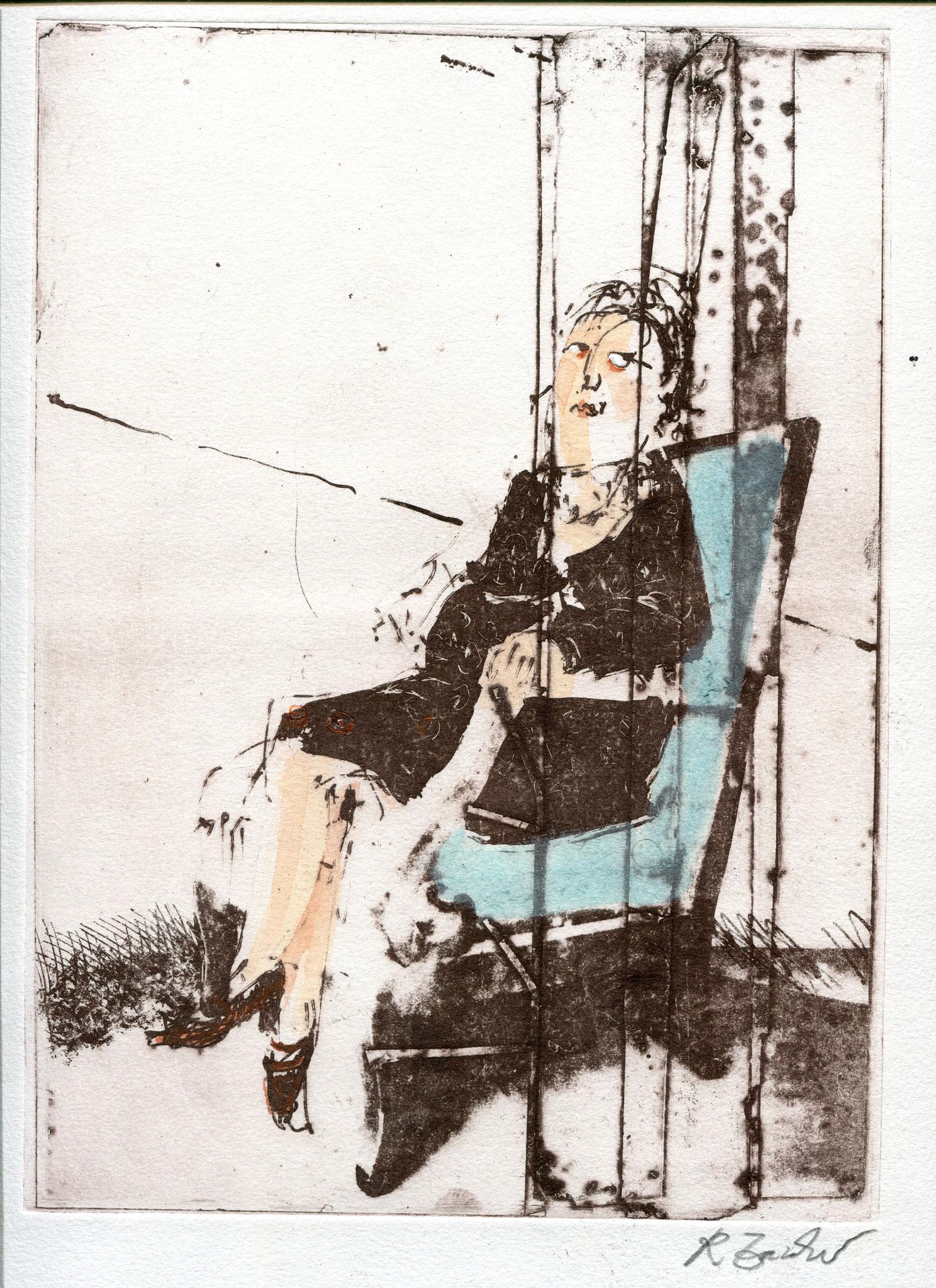Frau im Spiegel, Intagliotypie, 70 x 50 cm