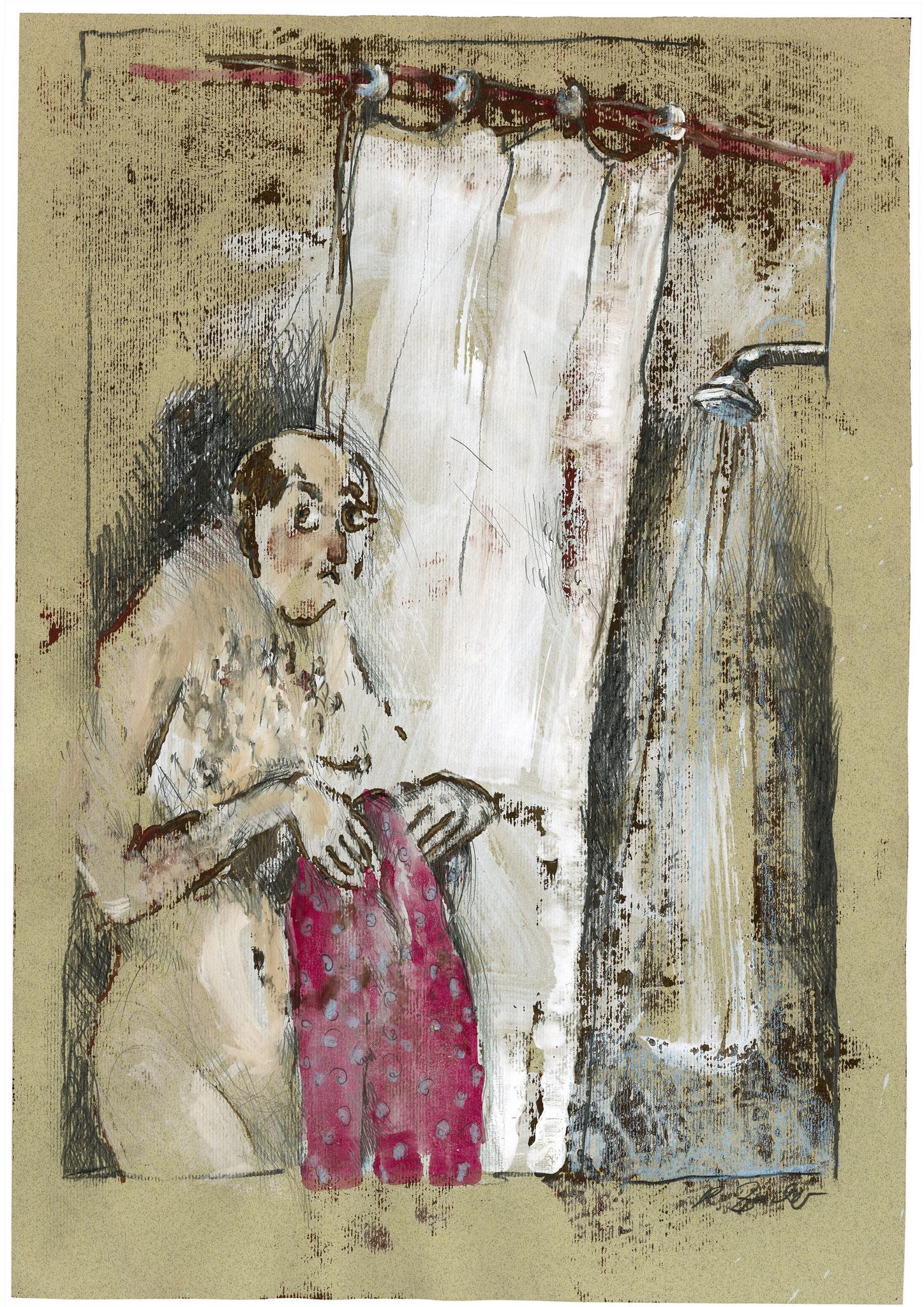 Betreten, Monotypie, 70 x 50 cm
