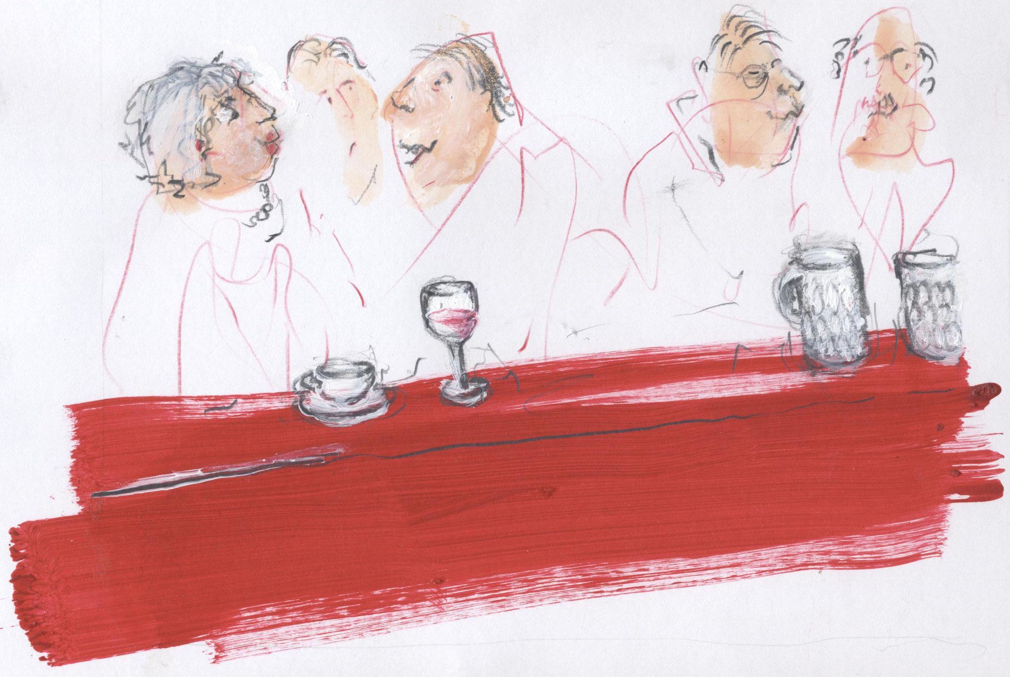 Bar rosso, Mischtechnik, 50 x 60 cm
