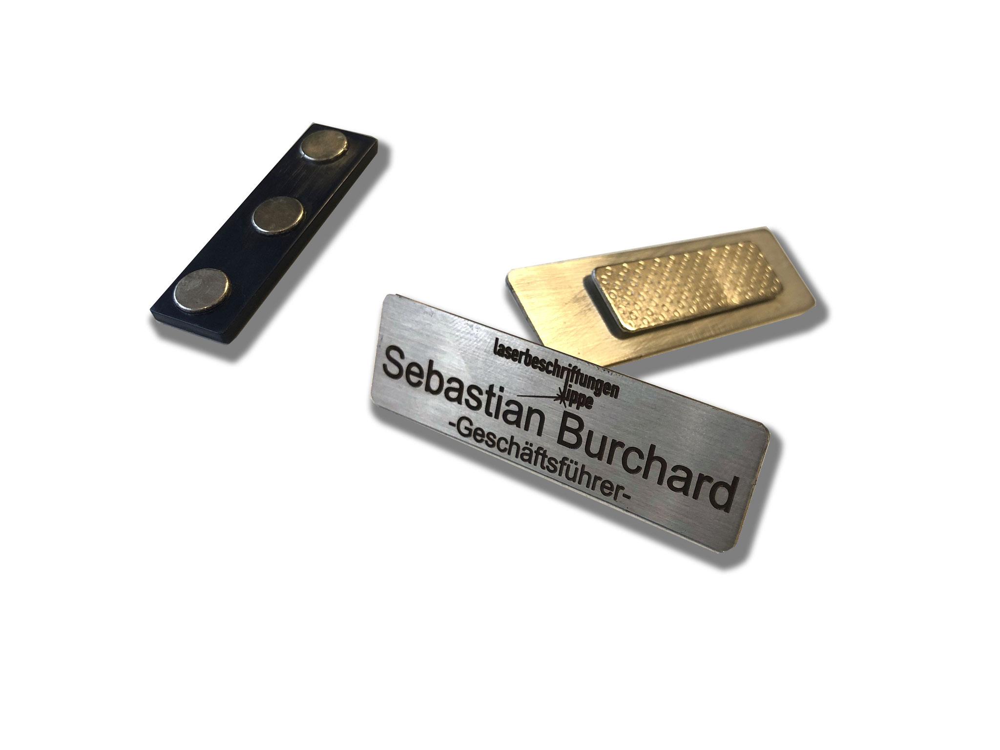 Edelstahl Namensschild mit Magnet und Laserbeschriftung - Lasergravur