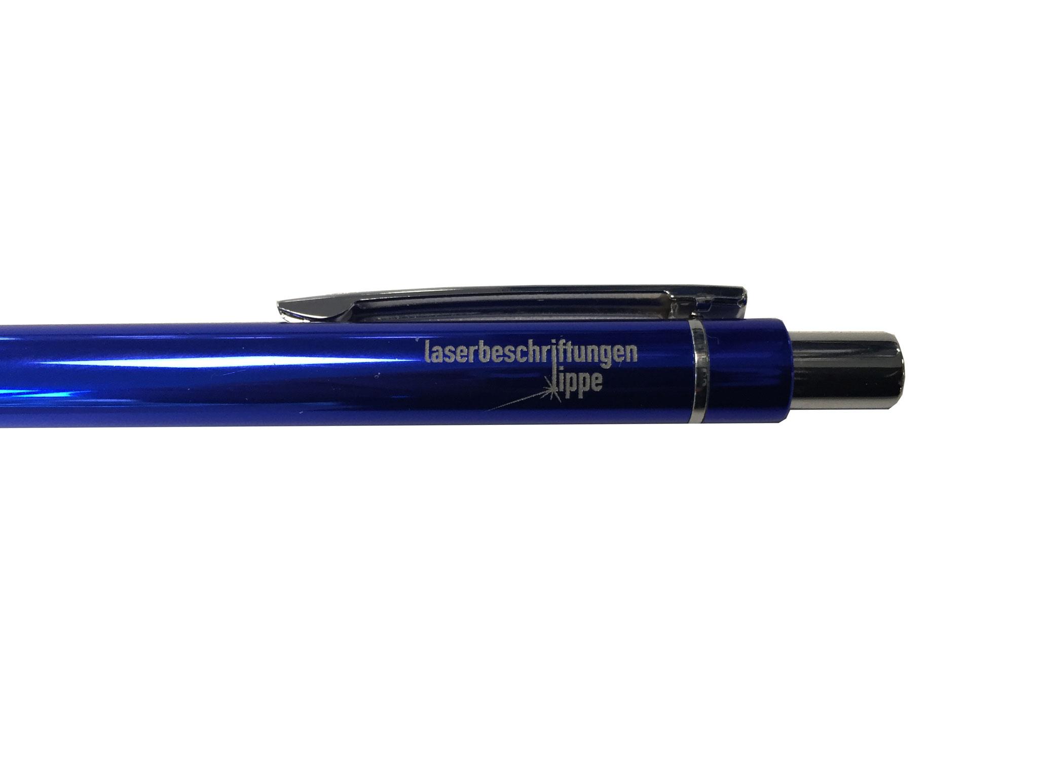 Kugelschreiber blau mit Laserbeschriftung - Lasergravur